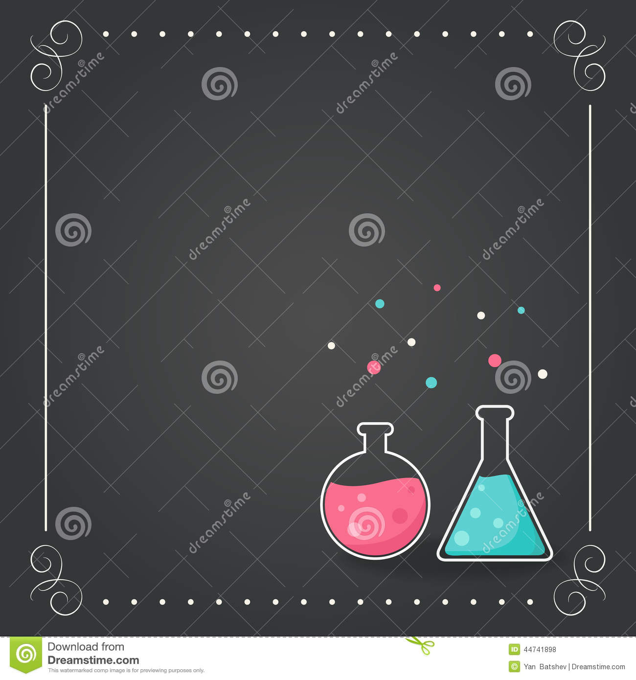 Chemistry Bottles on Chalkboard Background. School, Science, Chemistry Concept.
