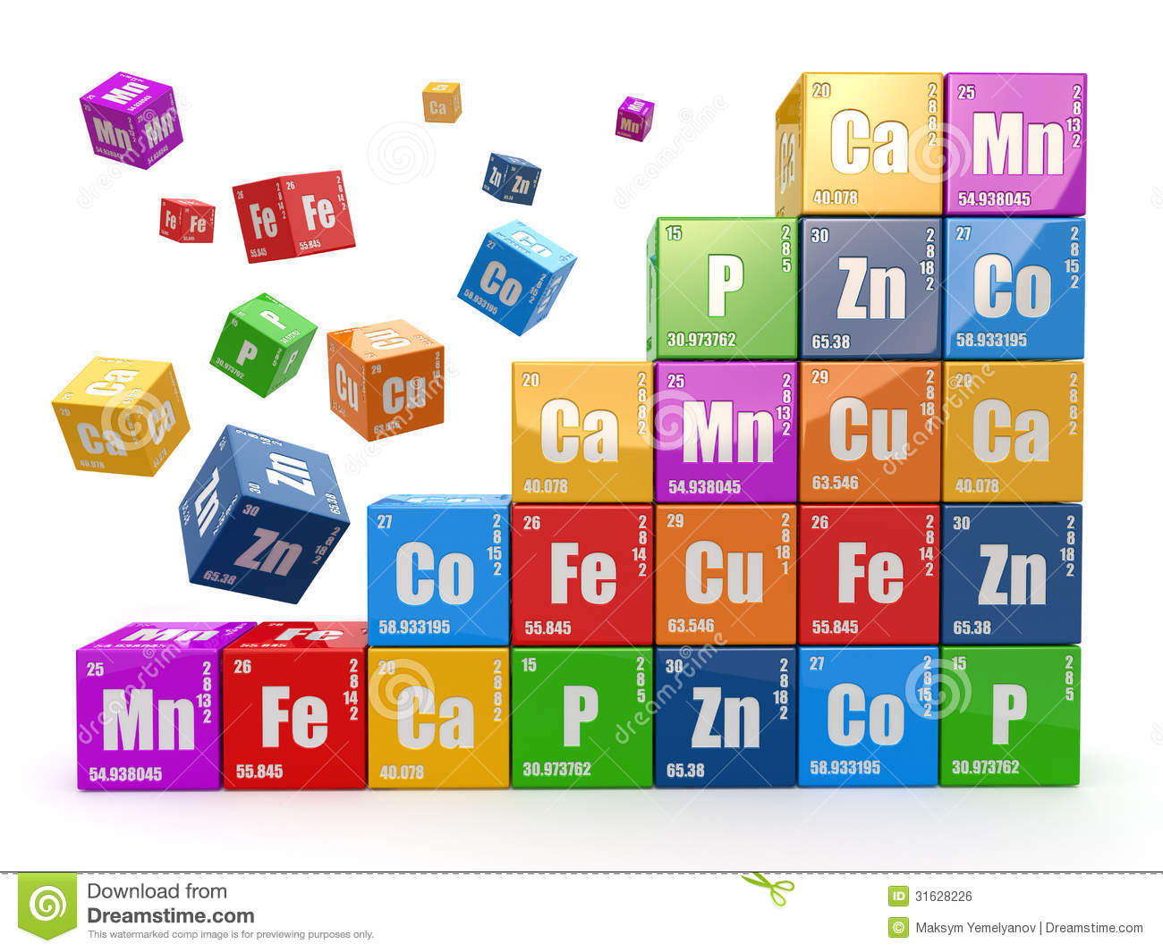 ... : Chemistry concept. Wall from cubes wiyh periodic table of elemen
