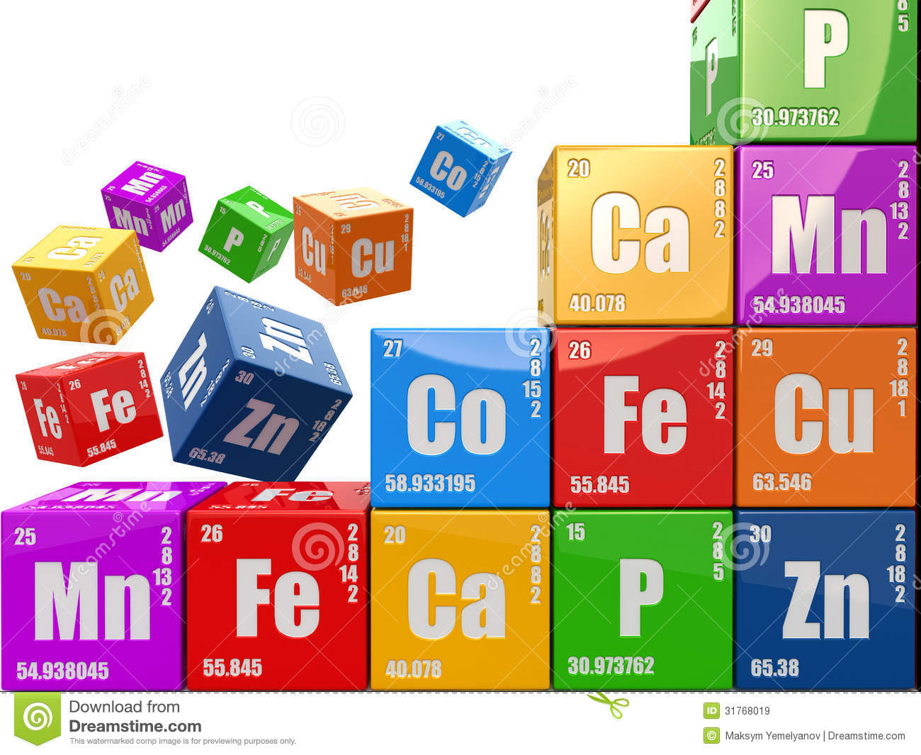 Chemistry Concept. Wall From Cubes Wiyh Periodic Table Of Elemen ...