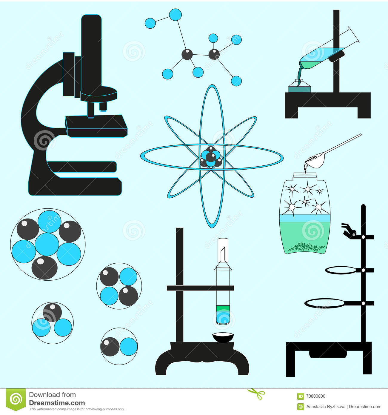 Chemistry Conceptual Set Vector Illustration. Learning Related Stuff On Light Blue Background.