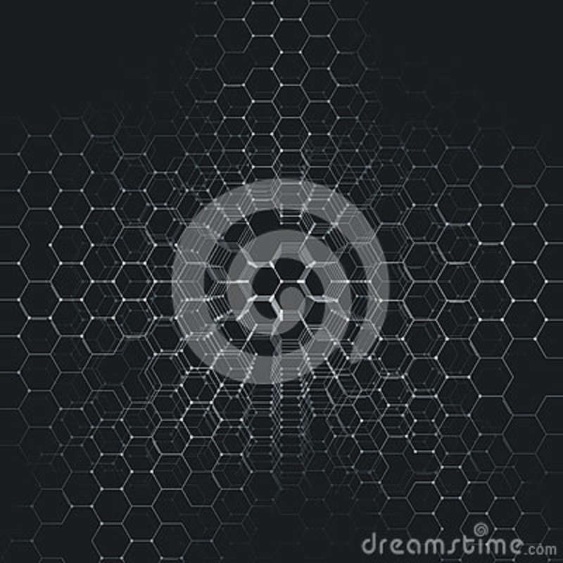 Chemistry 3D pattern, hexagonal molecule structure on black, scientific medical research.