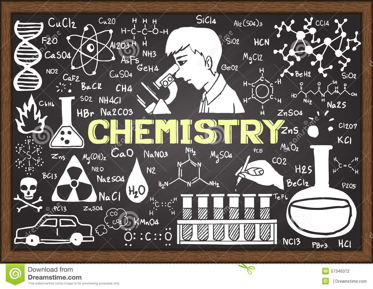 chemistry hand drawn on chalkboard template stock vector
