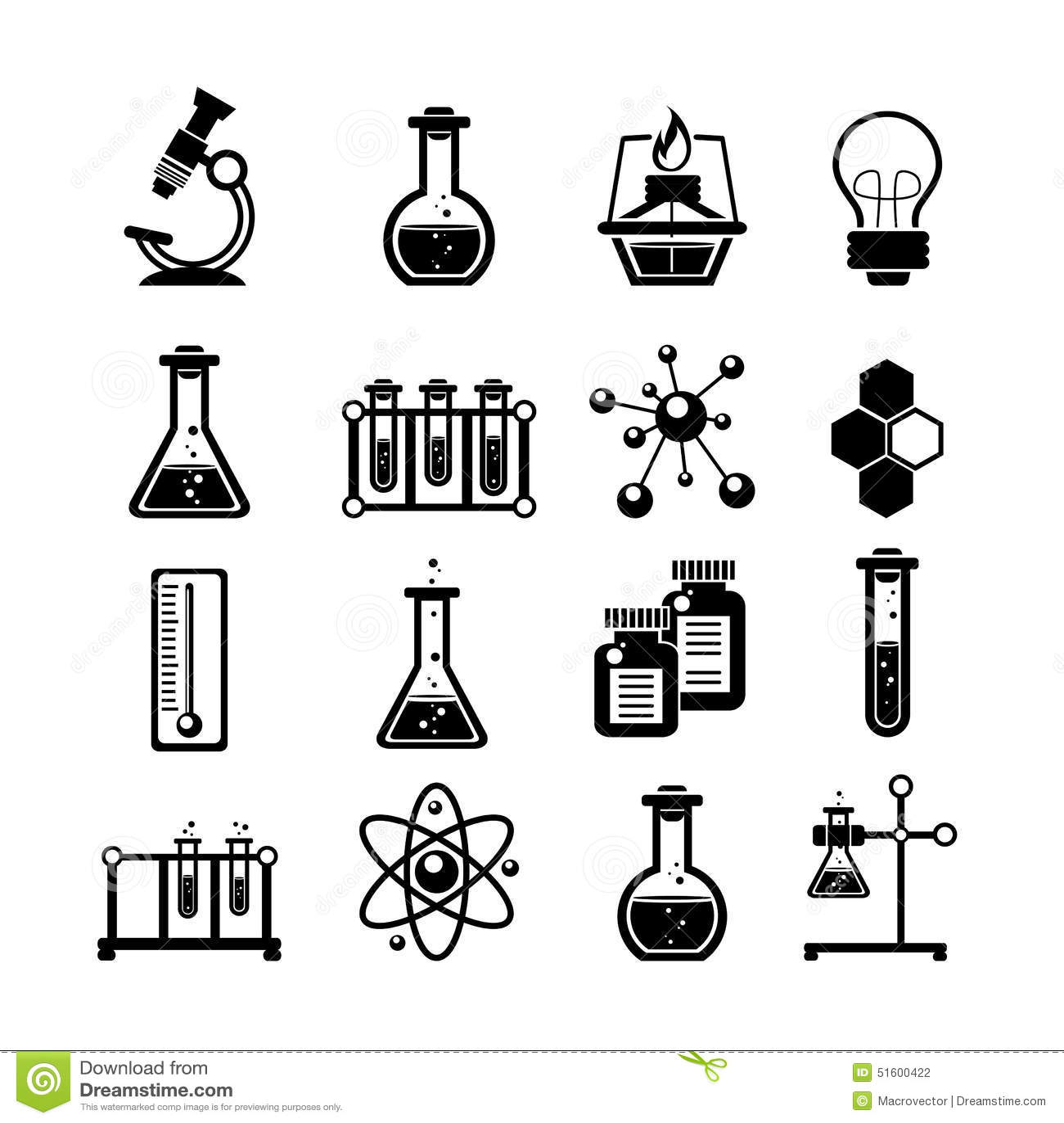 Chemistry Icons Set Black Stock Vector Image 51600422