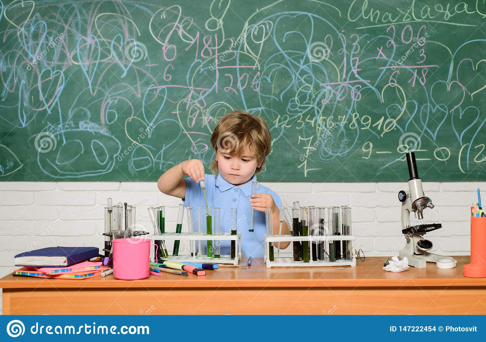 Chemistry laboratory. Practical knowledge concept. Study grants and scholarship. Wunderkind and early development. Smart