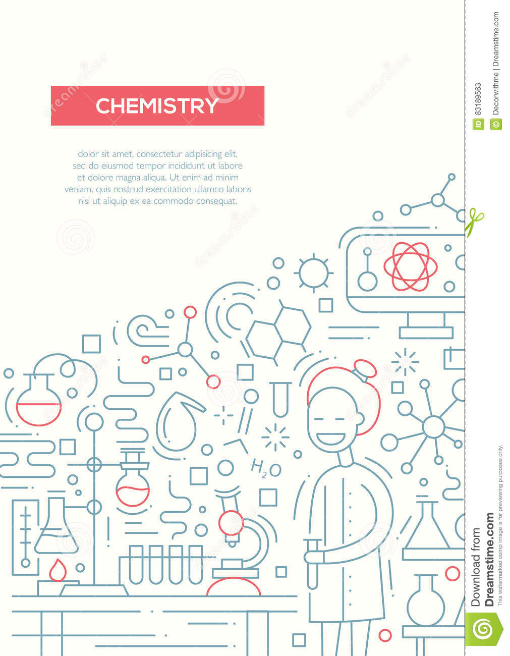 chemistry line design brochure poster template a4 stock vector