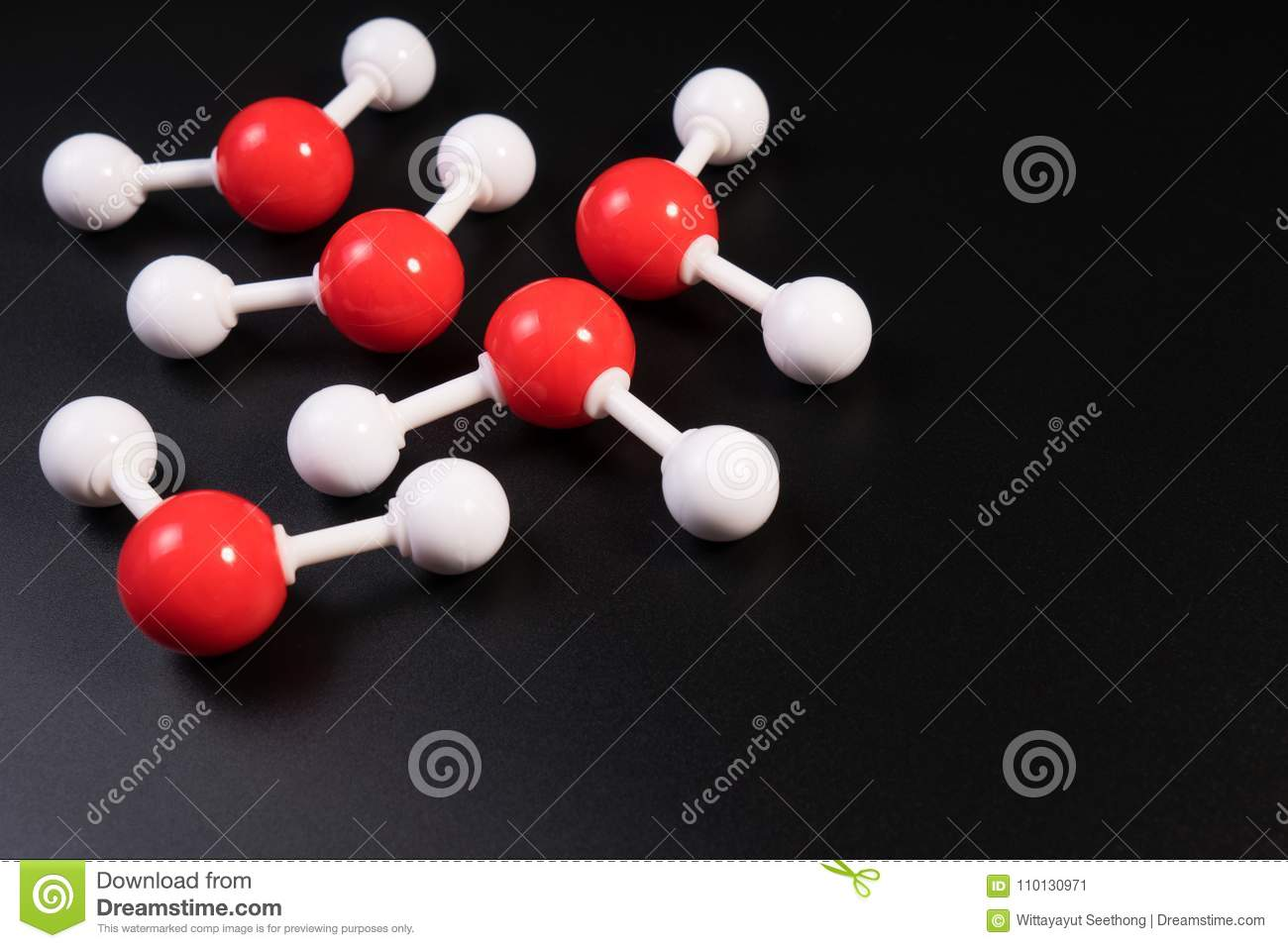 Chemistry model atom of molecule water scientific elements. Integrated particles hydrogen and oxygen atom on black background.