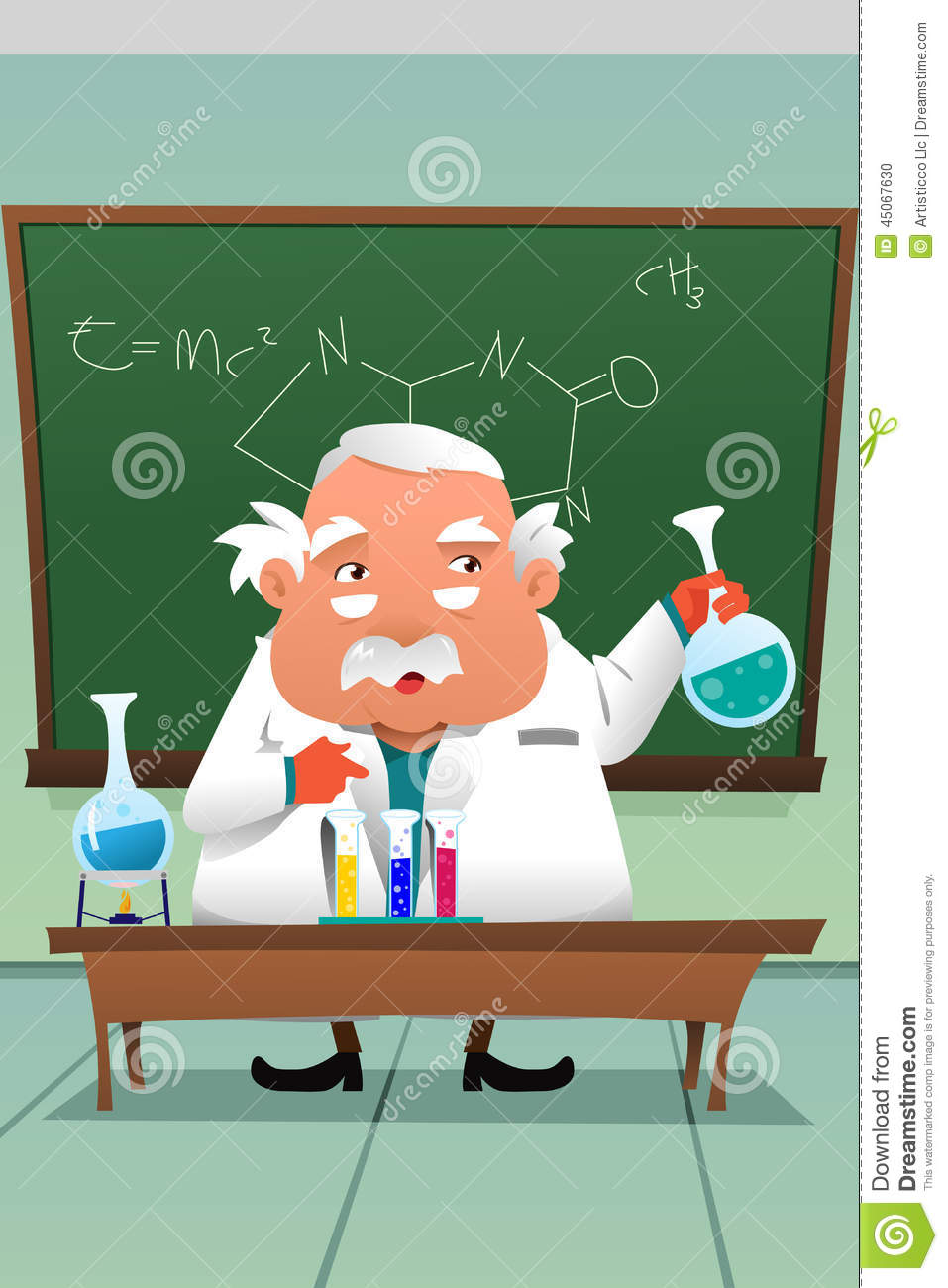 Modern Chemistry Classroom ~ Chemistry professor working at the lab stock vector