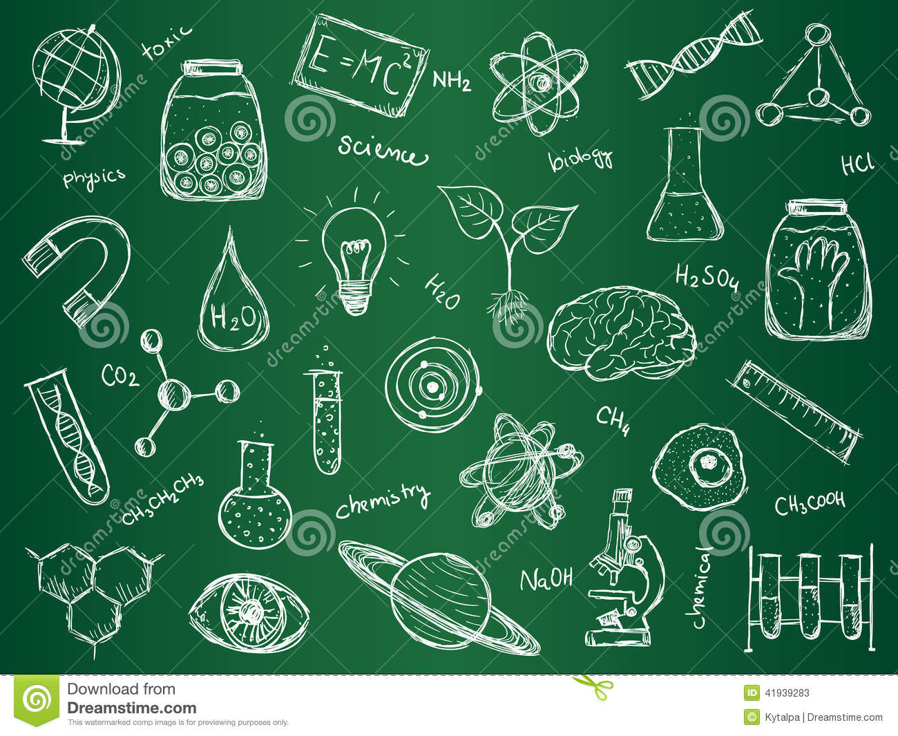... of scientific stuff on green school board. Hand drawn style