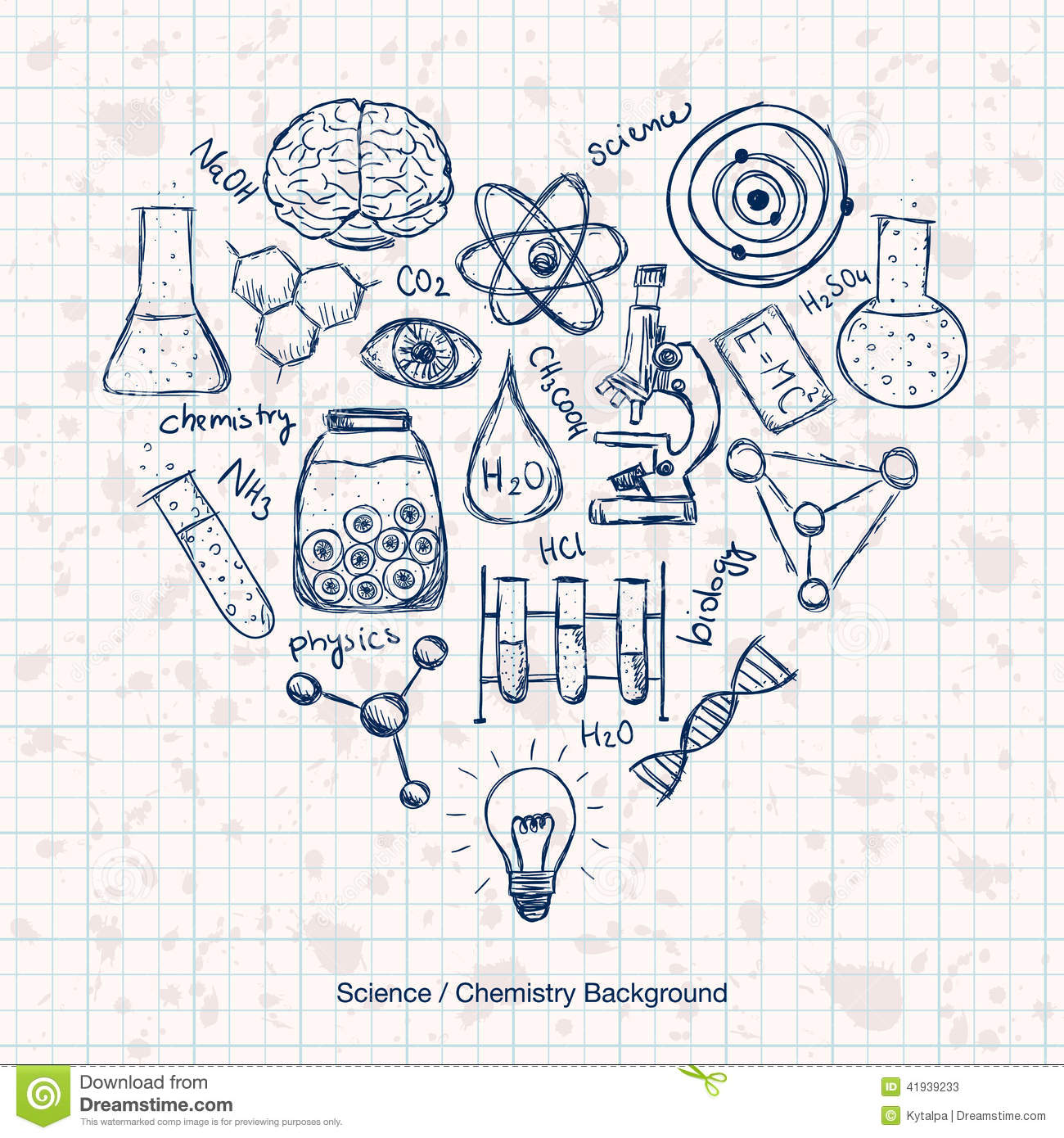 science chemistry background stuff scientific heart drawn hand illustration drawing biology vector shape preview