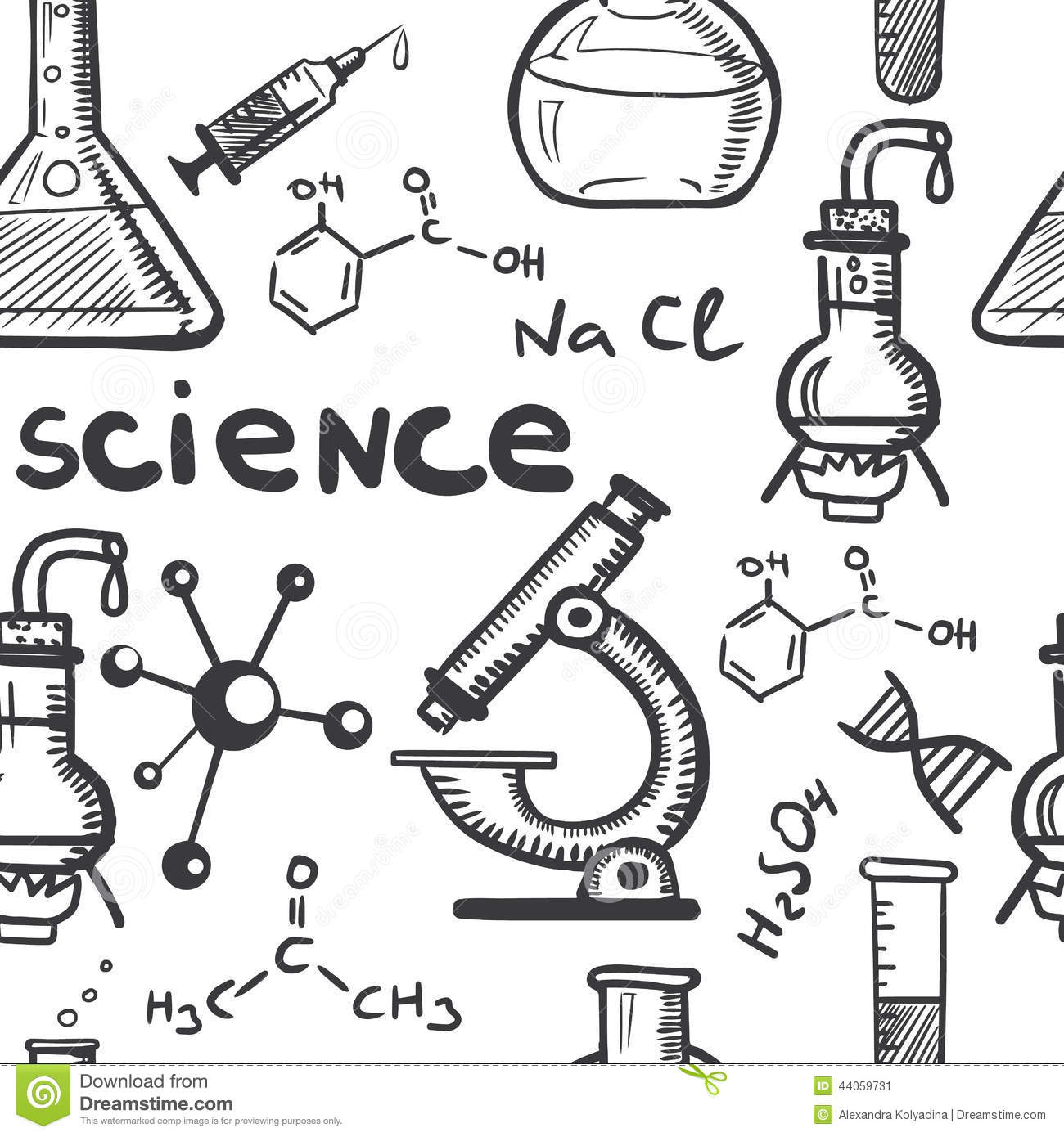 Chemistry And Science Concepts Seamless Stock Vector