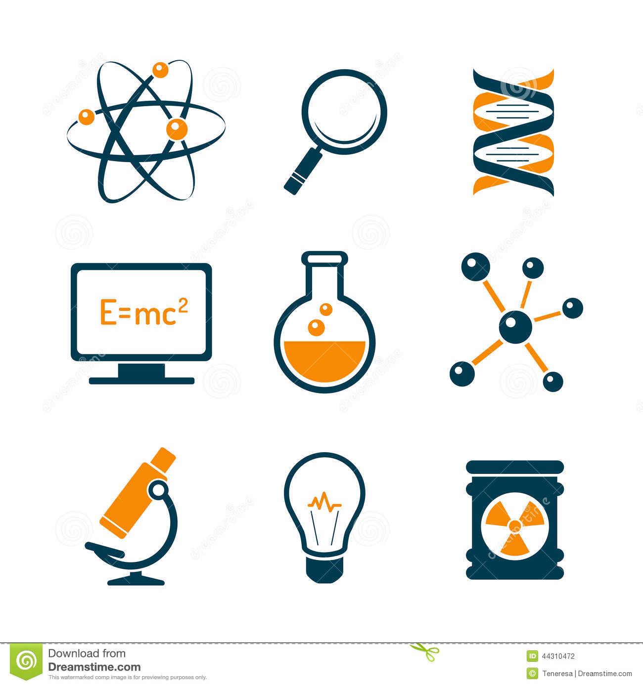 Chemistry And Science Icons Stock Vector Image 44310472