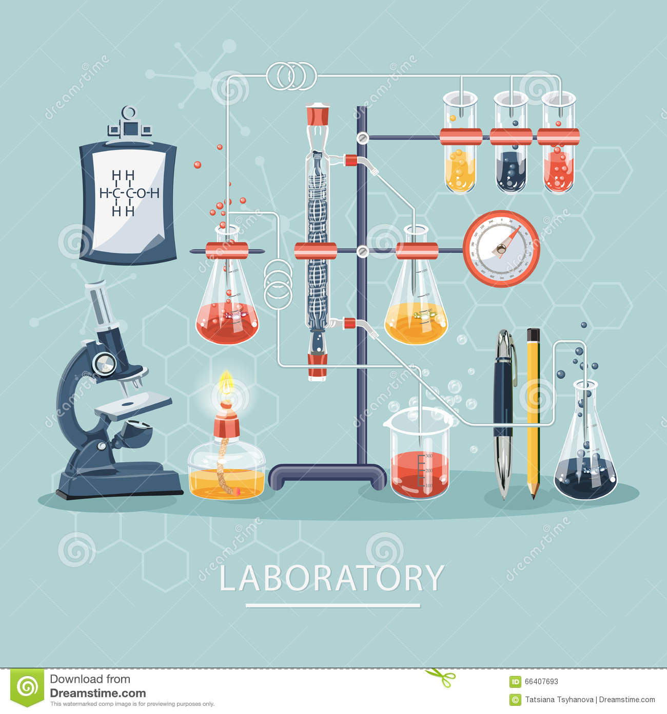 Chemistry and science infographic. Science Laboratory. Chemistry icons background for biology and medical research posters