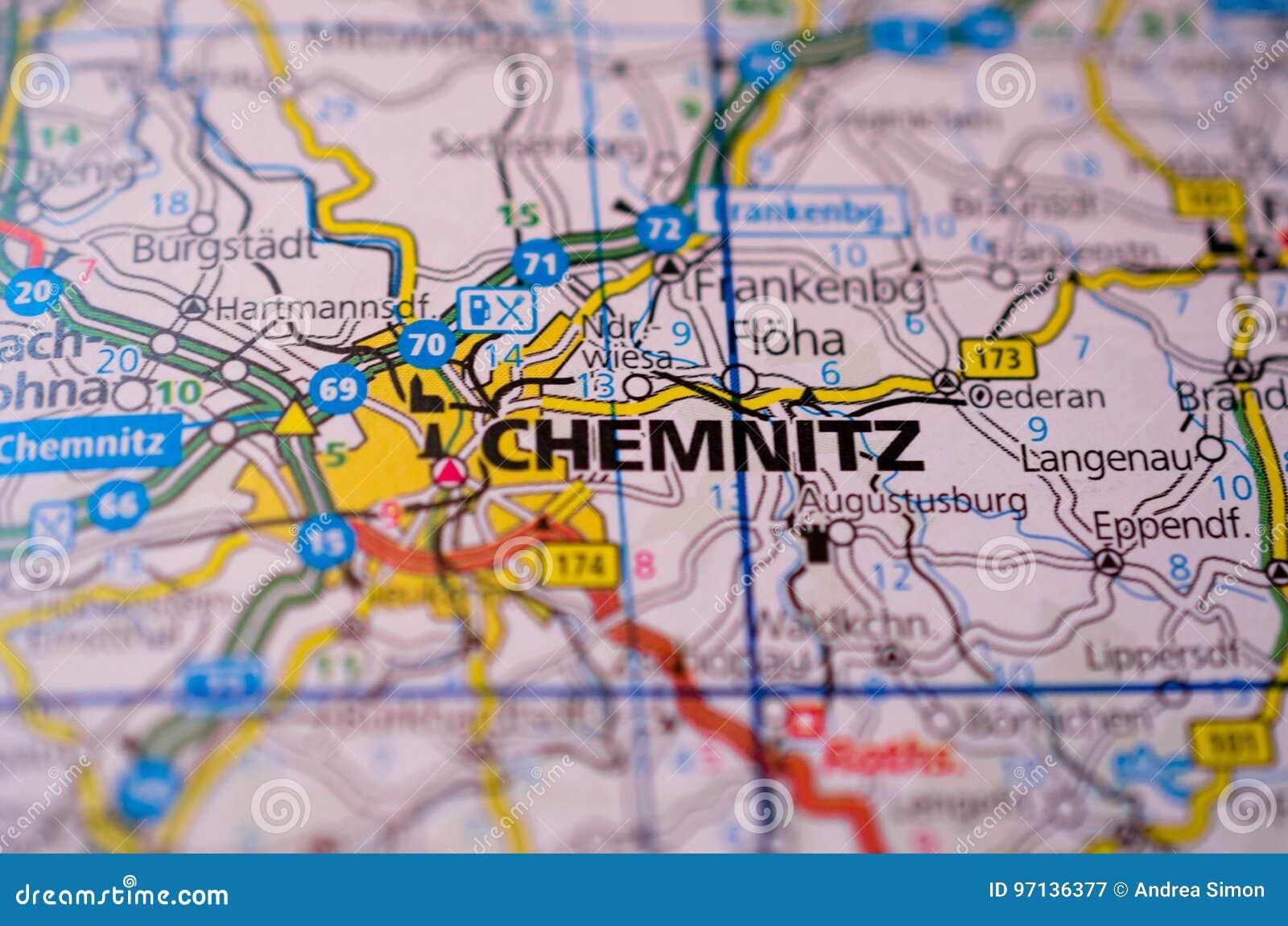 Chemnitz Karte.Chemnitz Auf Karte Stockbild Bild Von Planer Satellit