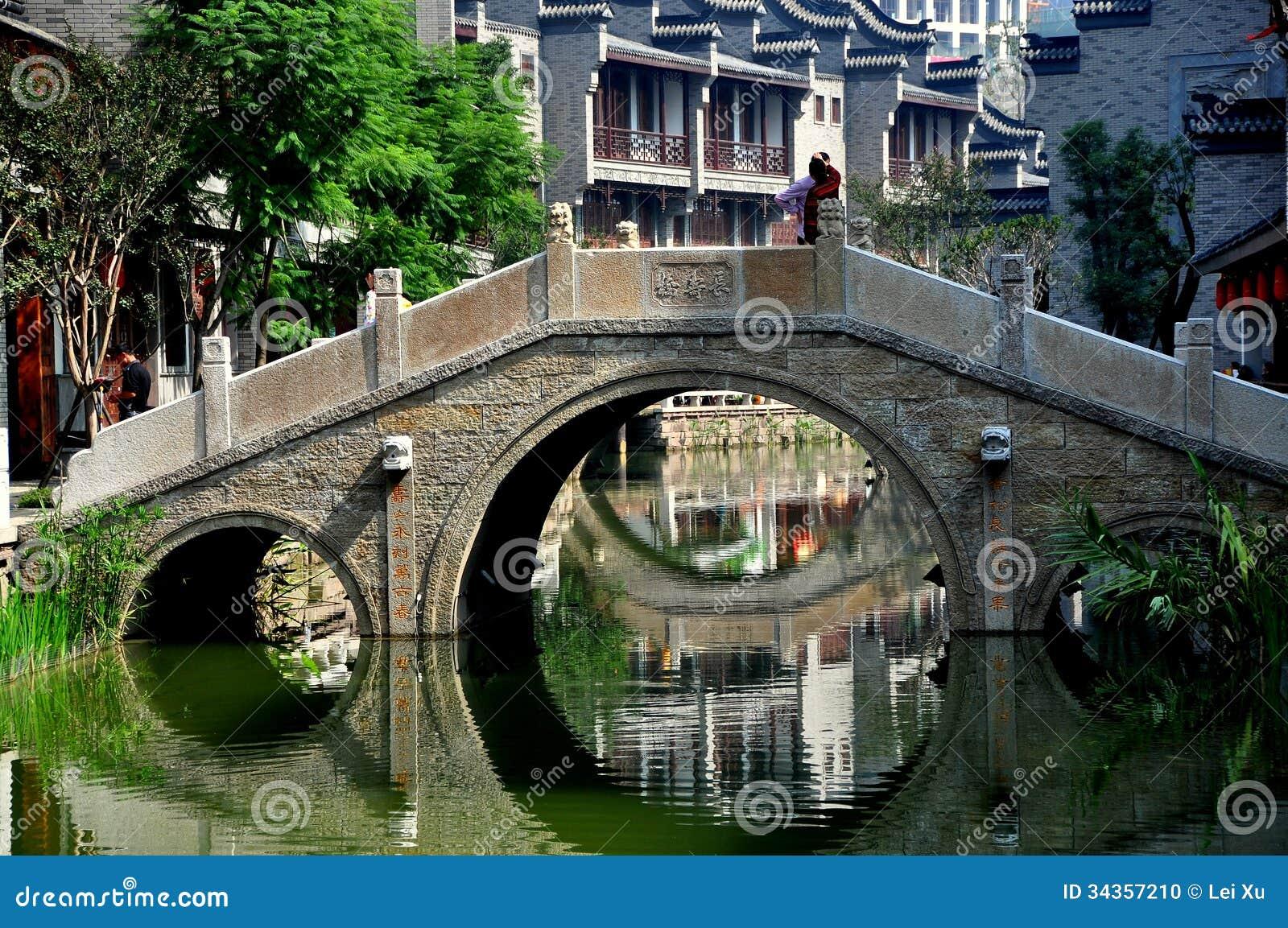 Chengdu, Κίνα: Πέτρινη γέφυρα στη μακριά πόλη νερού της Tan