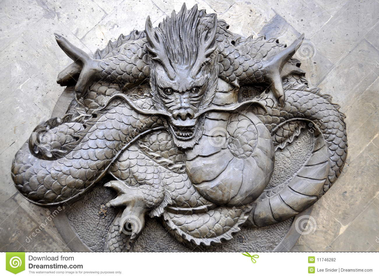 Chengdu, China: Bas Relief Dragon Stock Photography - Image: 11746282