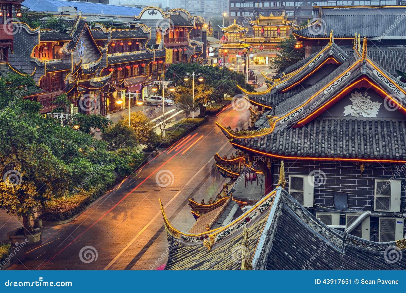 Chengdu, China en la calle de Qintai