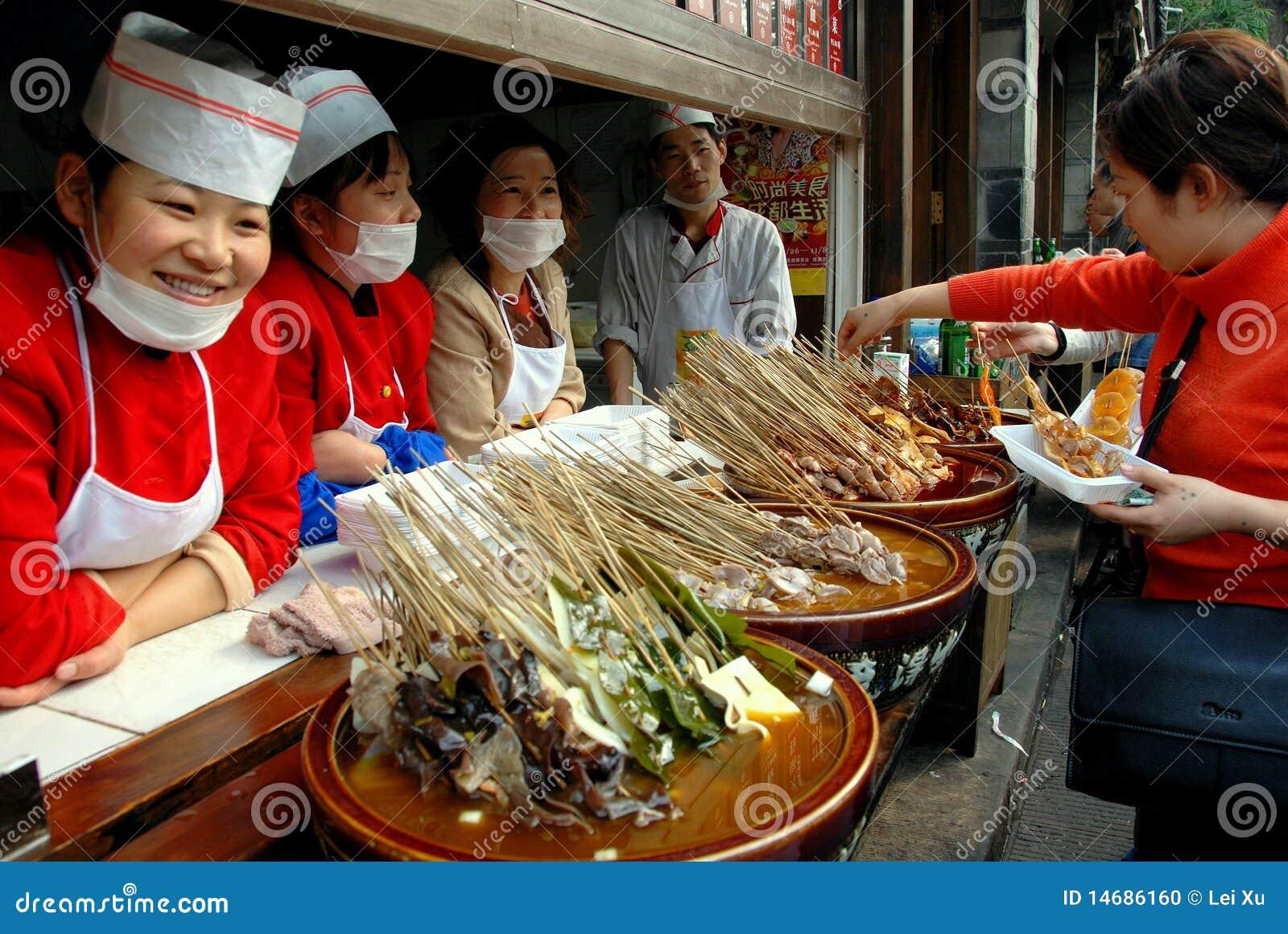 Chengdu, China: Food Vendors on Jin Li Street
