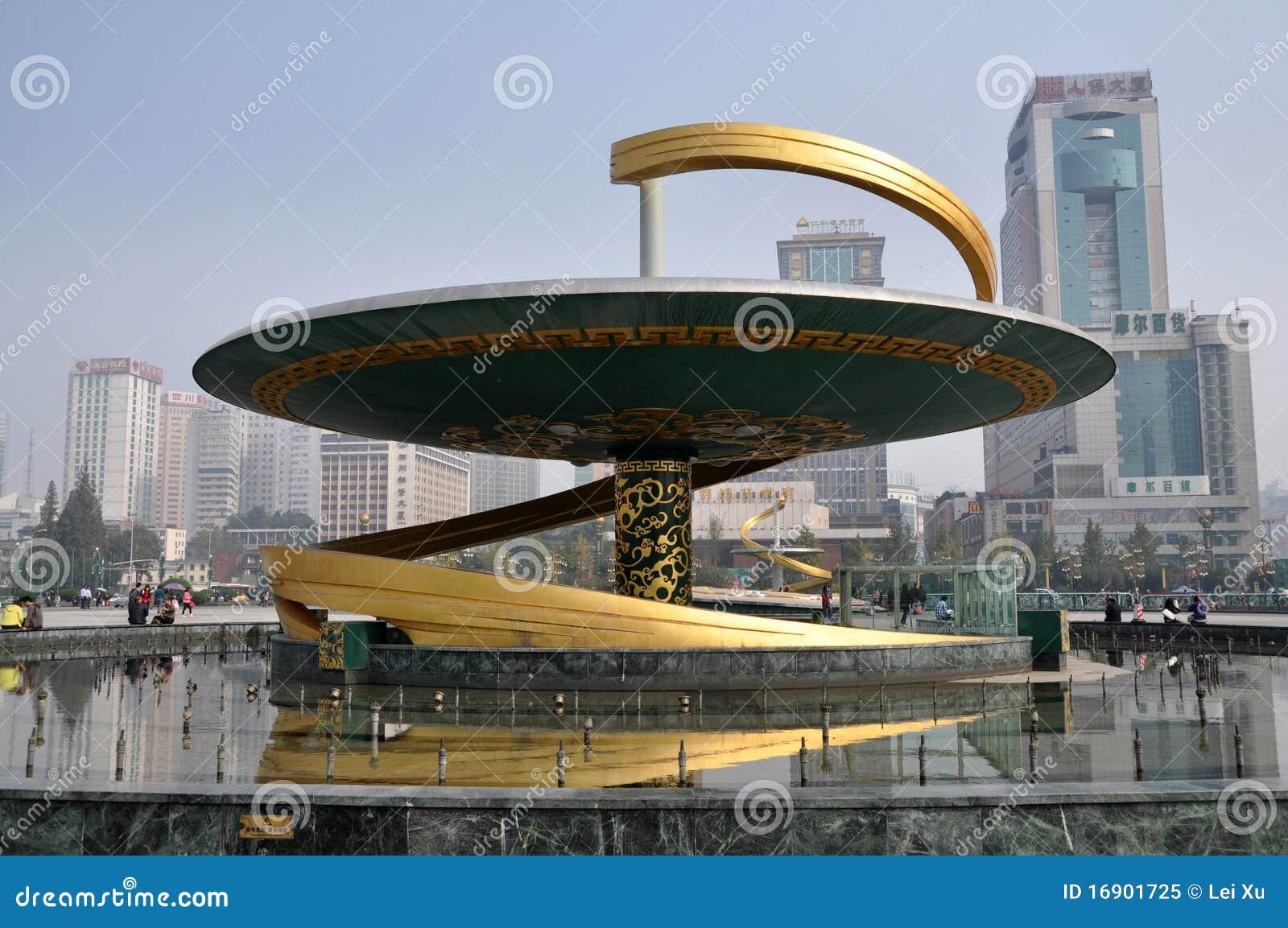 Chengdu, Cina: Fontana del drago nel quadrato di Tianfu
