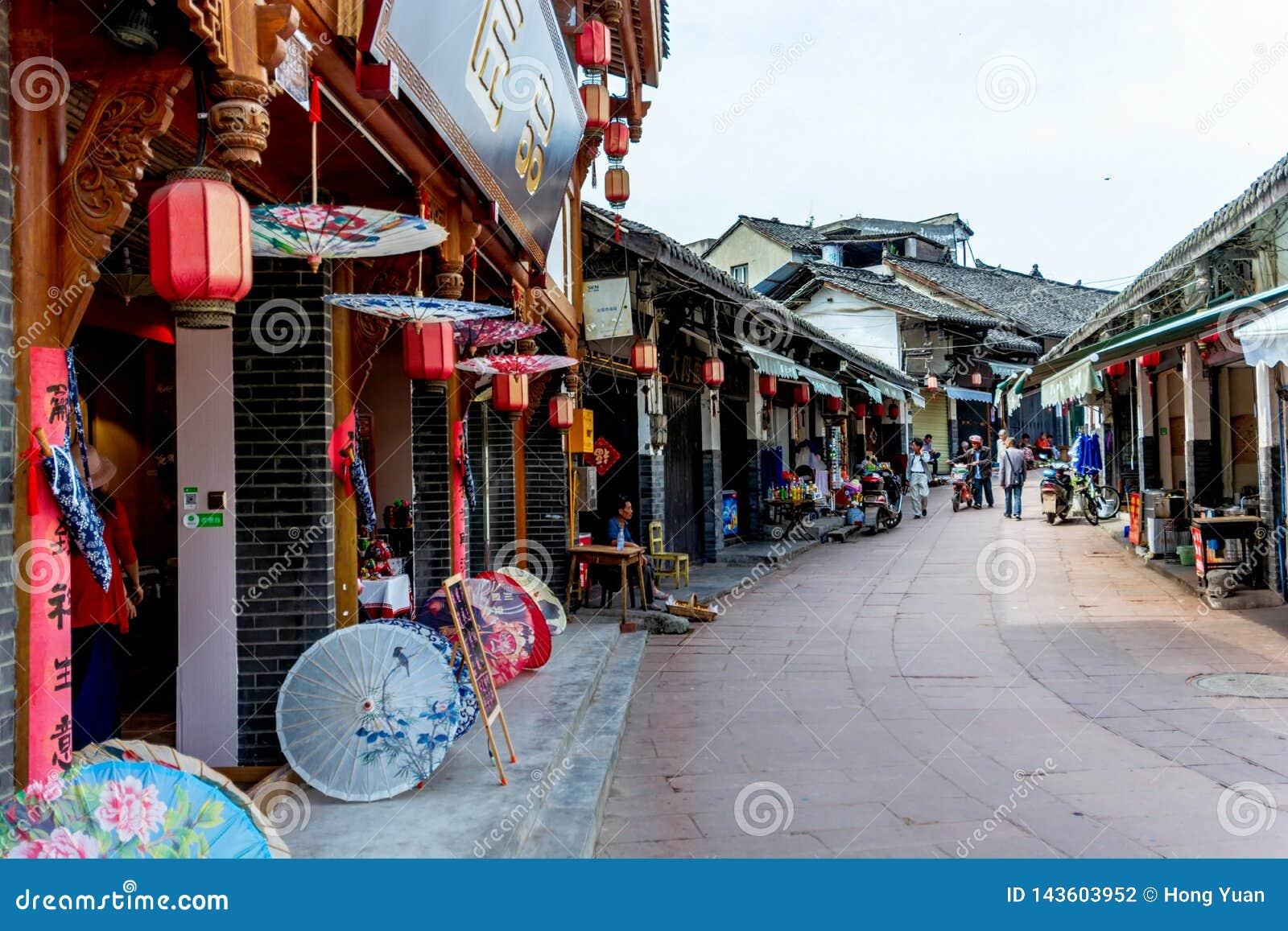Chengdu punktu zwrotnego Luodai Antycznego miasteczka Antyczne ulicy, Chiny