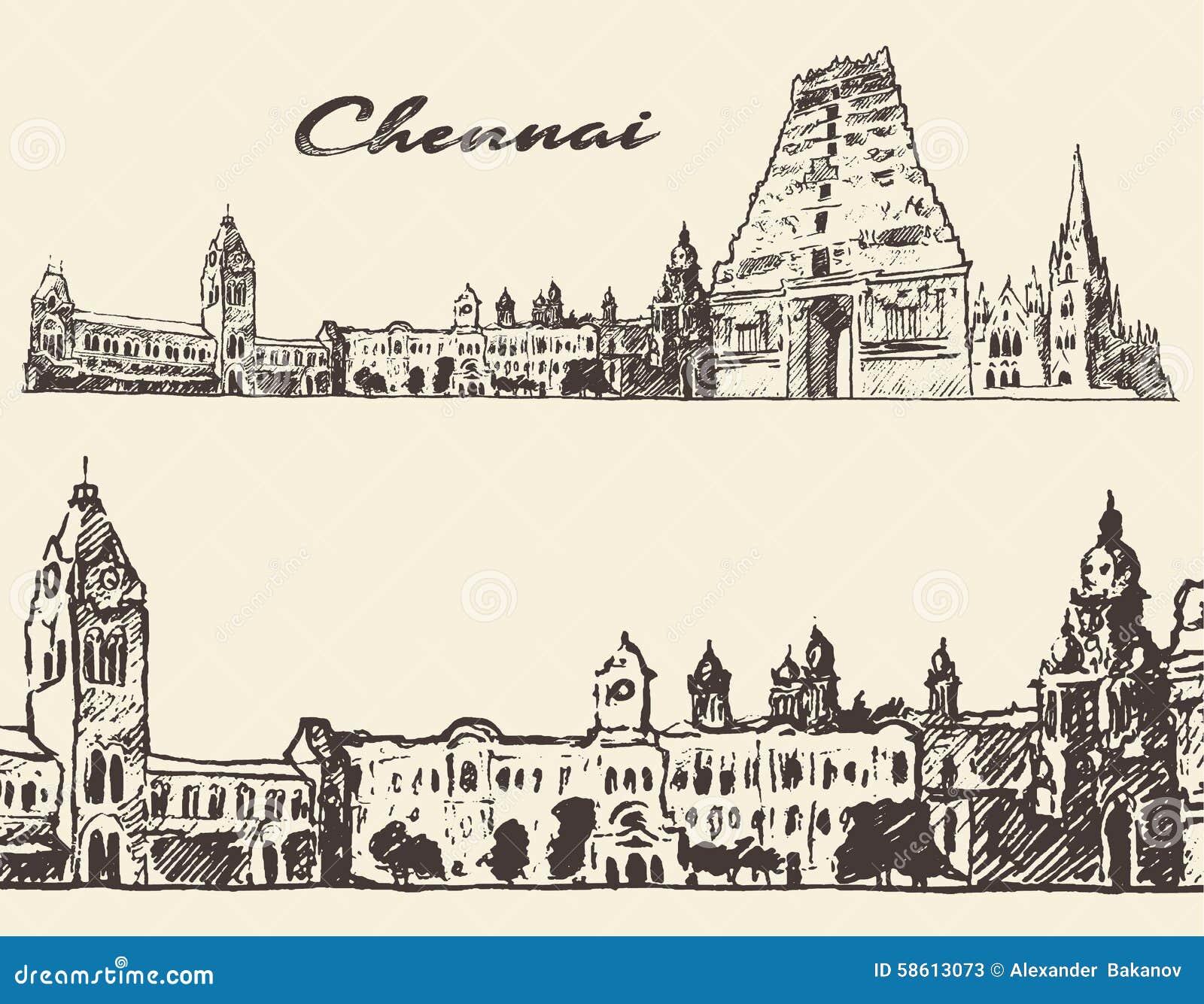 Chennai a gravé le croquis tiré par la main d illustration