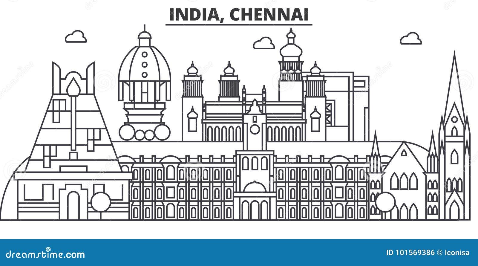 Chennai, ligne illustration d architecture d Inde d horizon Paysage urbain linéaire de vecteur avec les points de repère célèbres