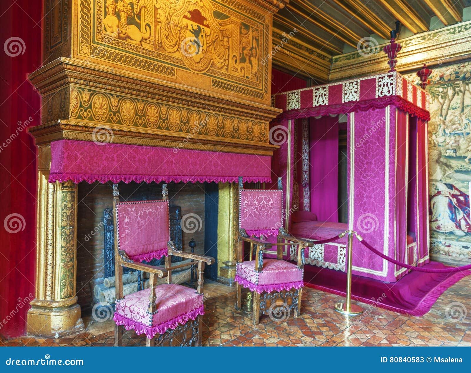 chenonceau castle interior editorial stock photo - image: 80840583