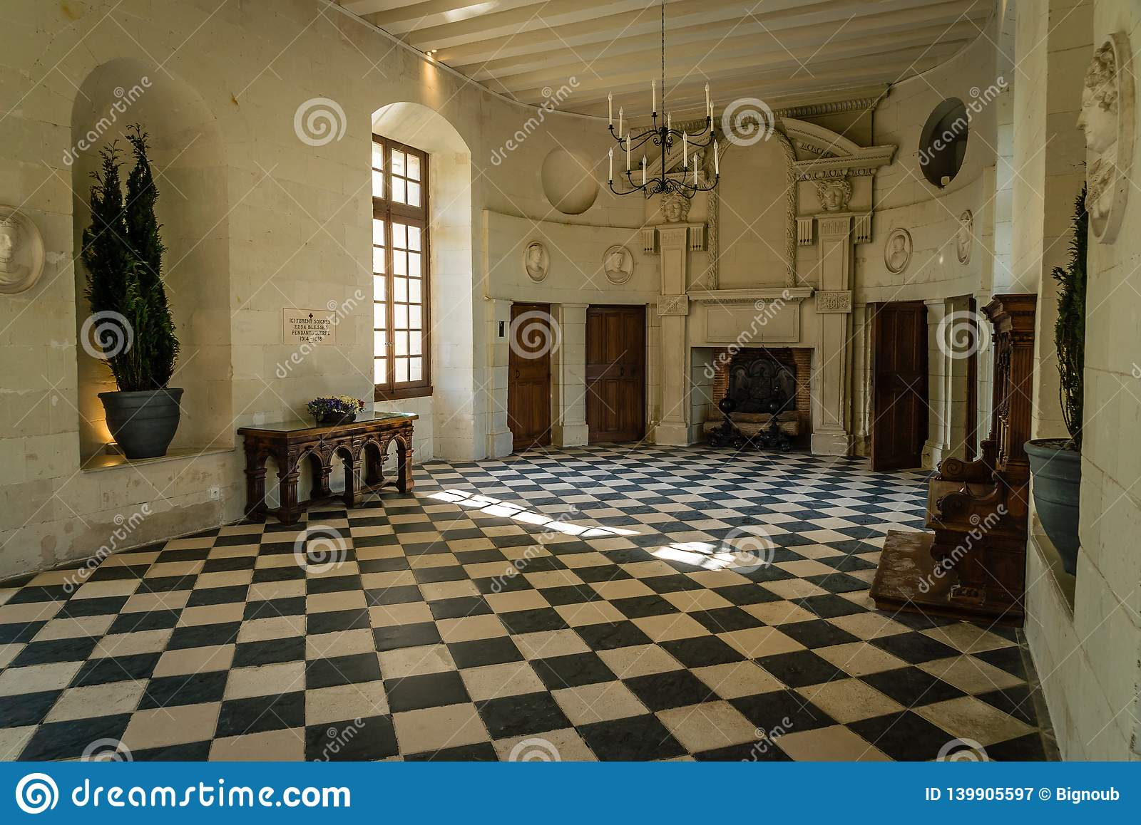 Chenonceau gallery in the summer in a french loire castle