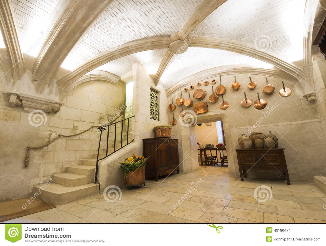 Chenonceaux castle interior view of kitchen editorial for Interieur france