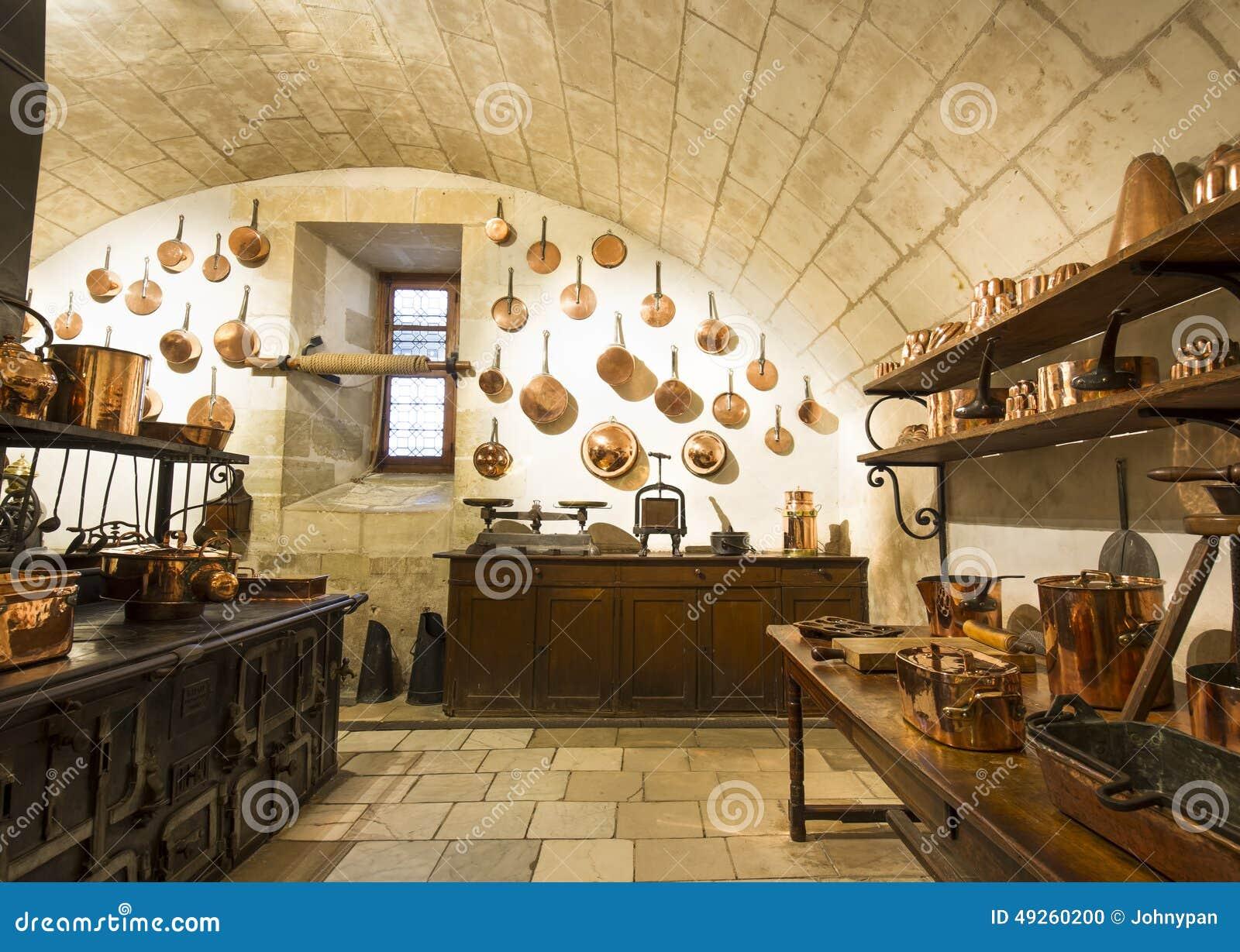 Chenonceaux-Schlossinnenraum, Ansicht Der Küche Redaktionelles Bild ...