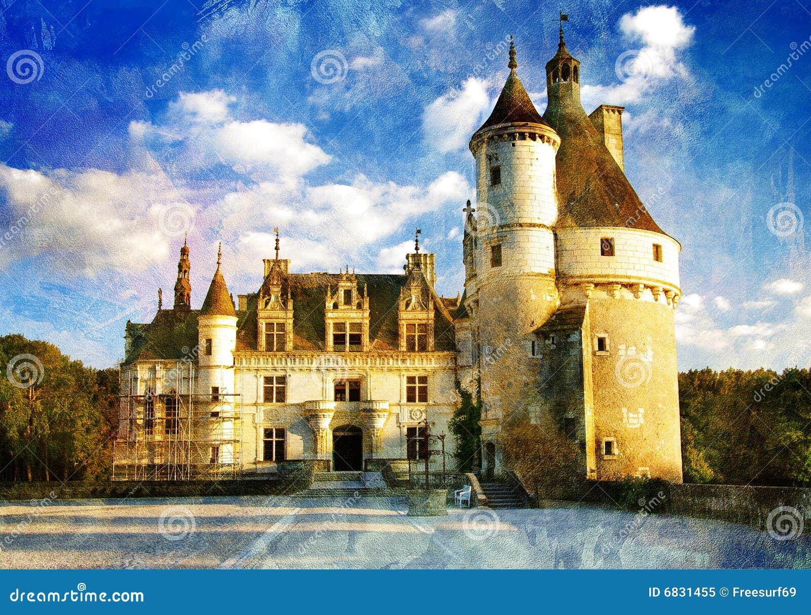 Chenonseau Castle - Painting Style Stock Illustration