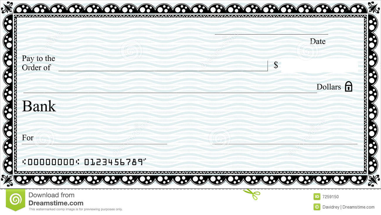 generic cheque template. With vector download option. Ideal for ...