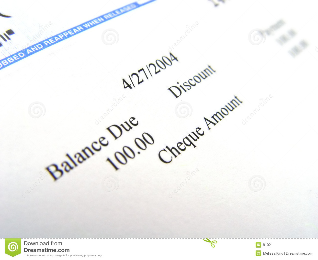 Cheque Closeup