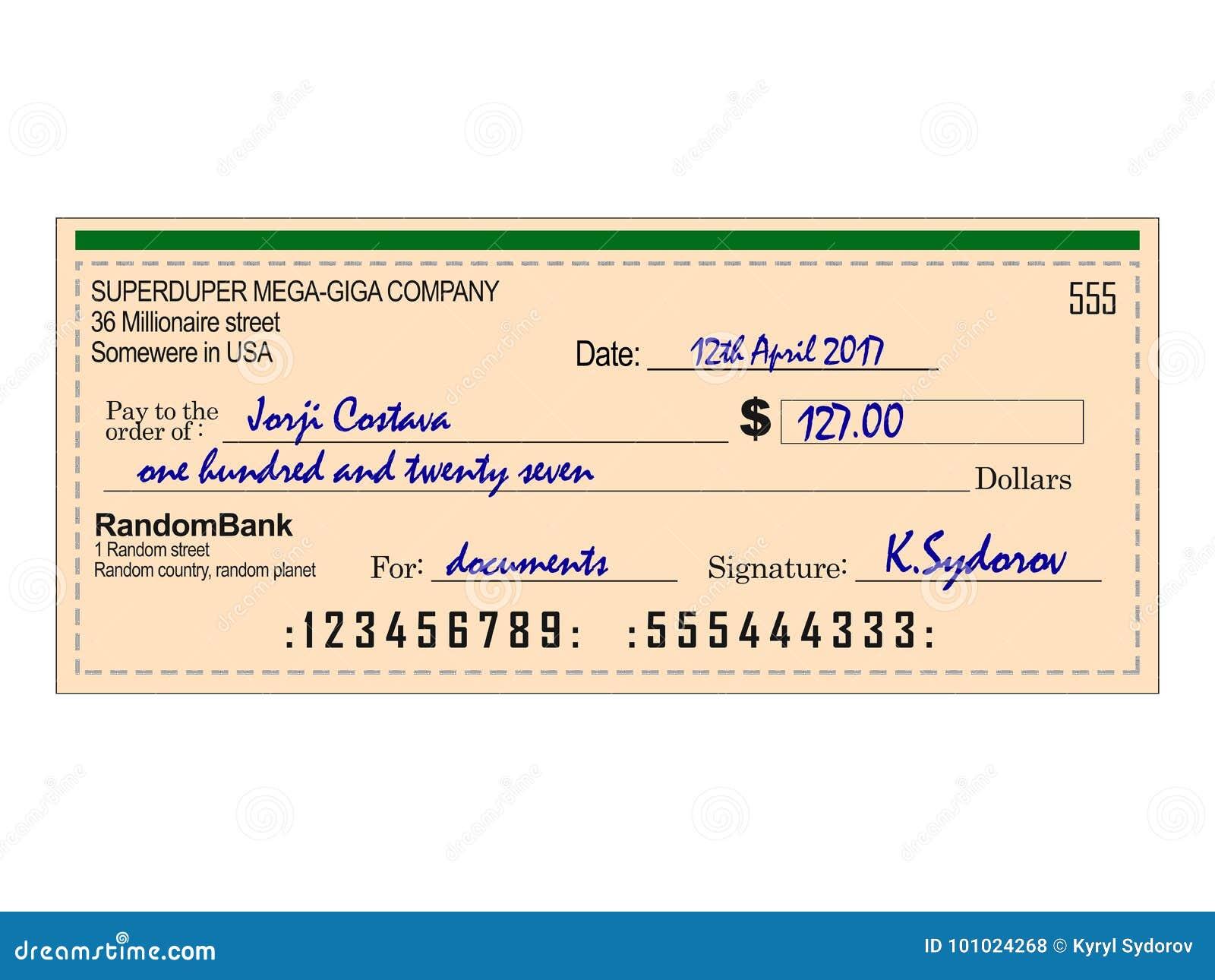 Cheque llenado del banco