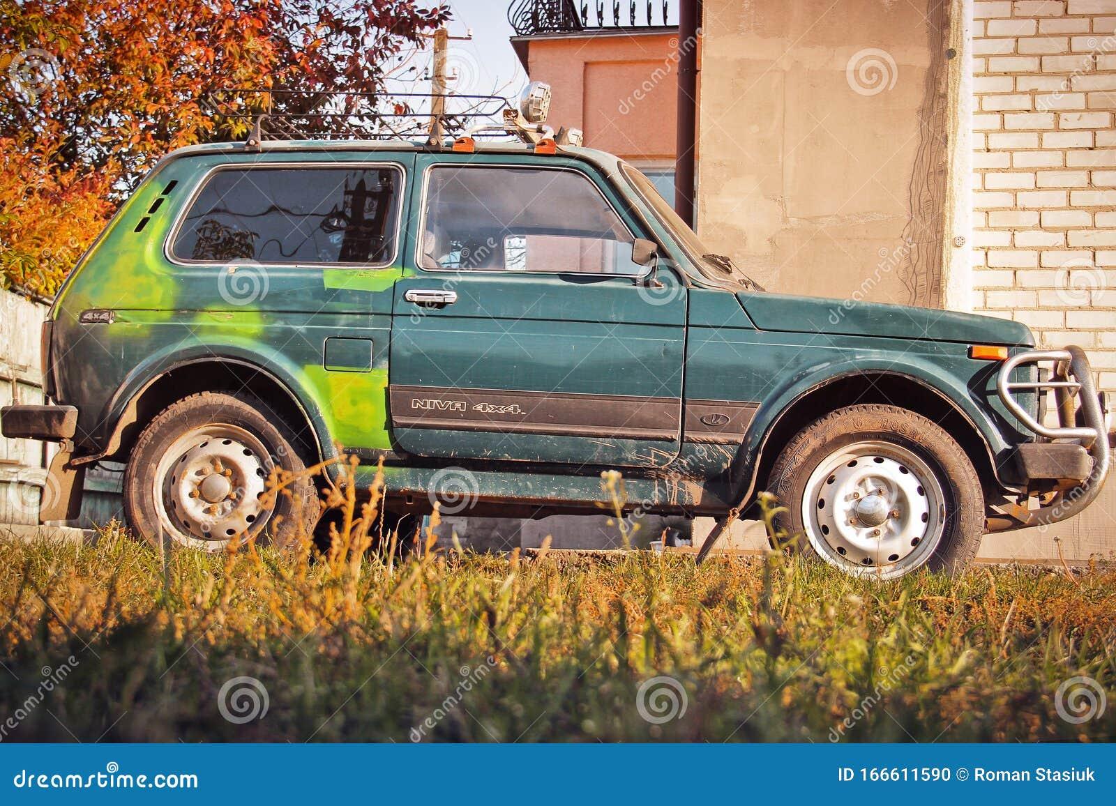 Chernihiv Ukraine October 15 2019 Suv Lada Niva 4x4 In The Yard Editorial Image Image Of Luxury Metallic 166611590
