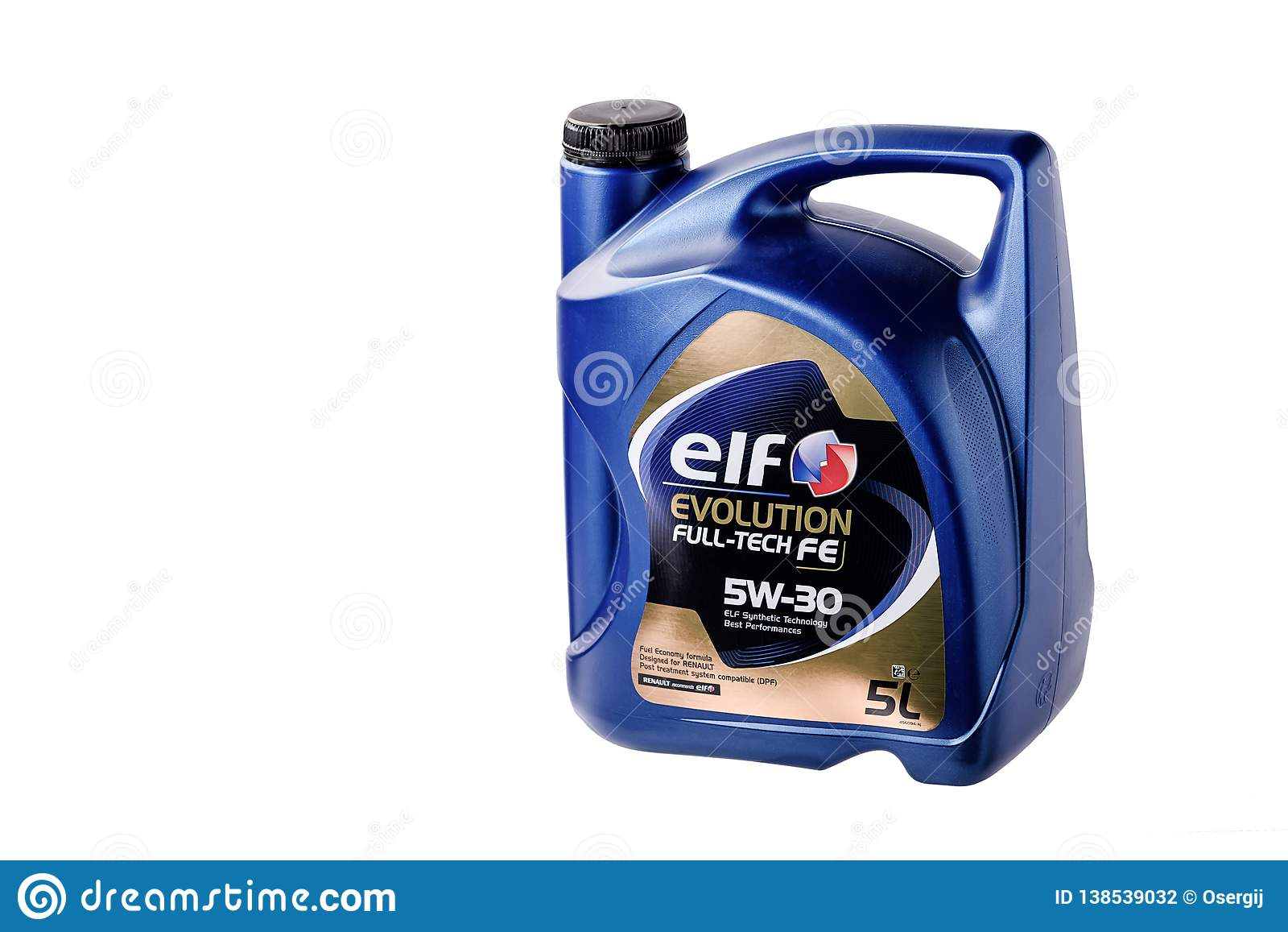 Chernivtsi/de Oekraïne - 12 27/2018: Motorolie in typische die vijf-liter een container door ELF wordt vervaardigd Voor Renault-a