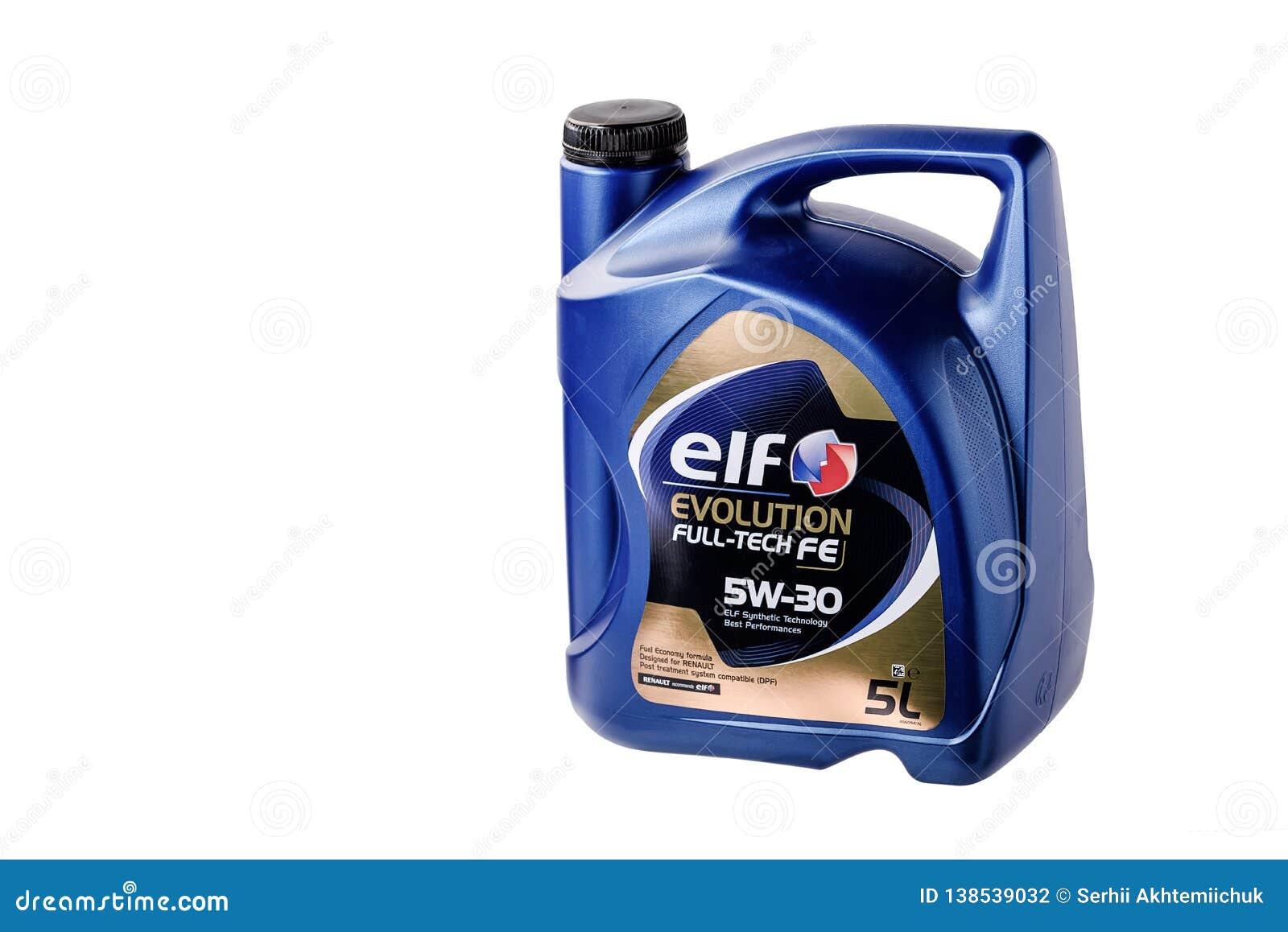 Chernivtsi, Ukraina/- 12 27/2018: Parowozowy olej w typowym litru zbiorniku fabrykującym elfem Dla Renault samochodów