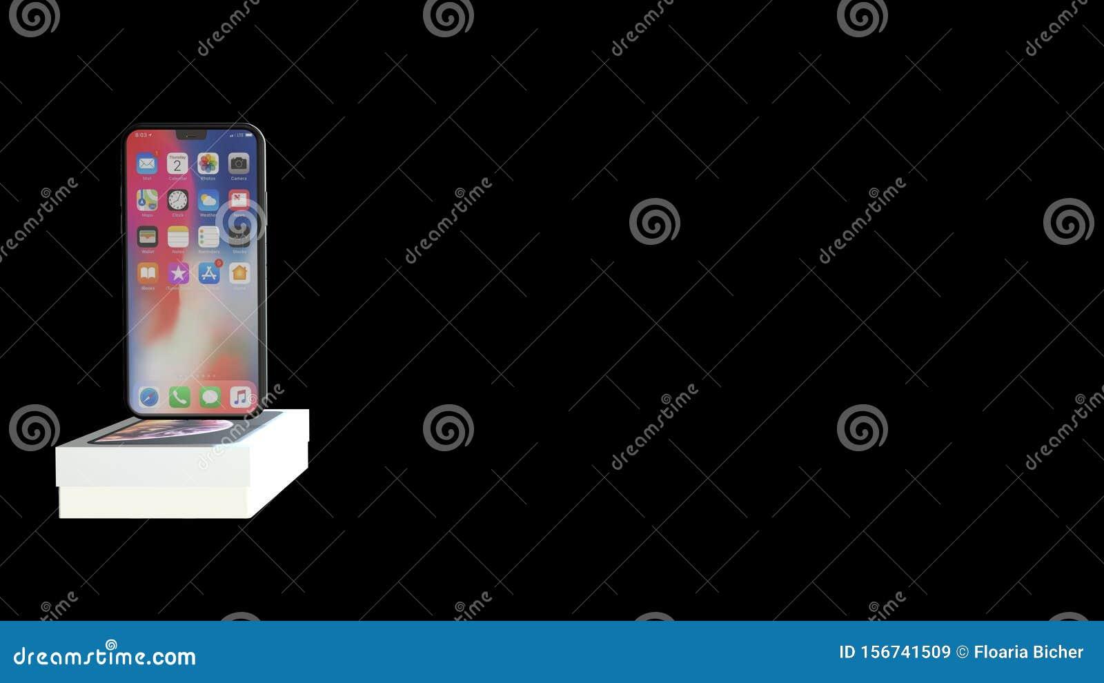 Chernivtsi, Ukraine - July 11, 2019: iPhone 11 new in original box isolated on black background.