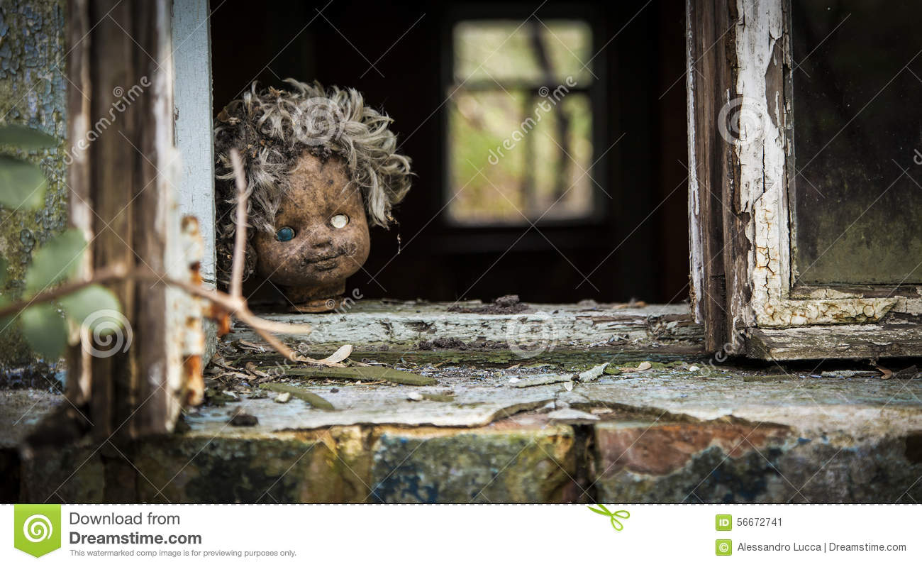 Chernobyl Doll Looks Out A Window Stock Photo Image