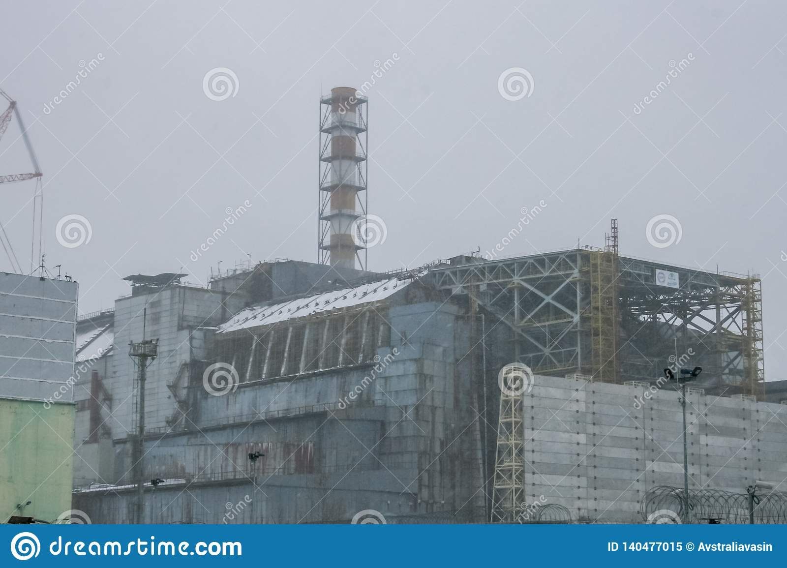 Chernobyl Nuclear Power Plant And Sarcophagus Stock Image