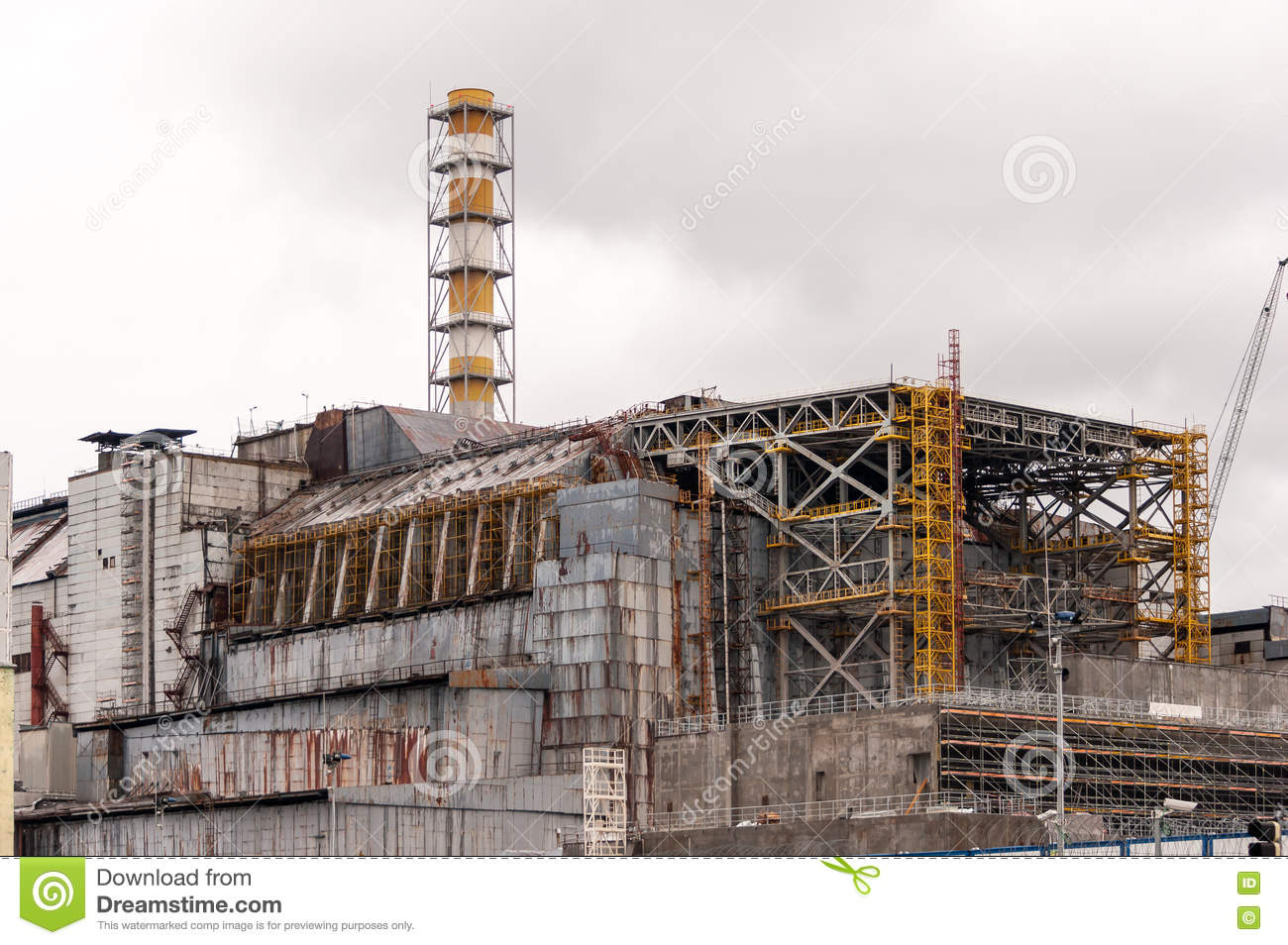 Chernobyl Nuclear Power Plant  View On Old Destroyed