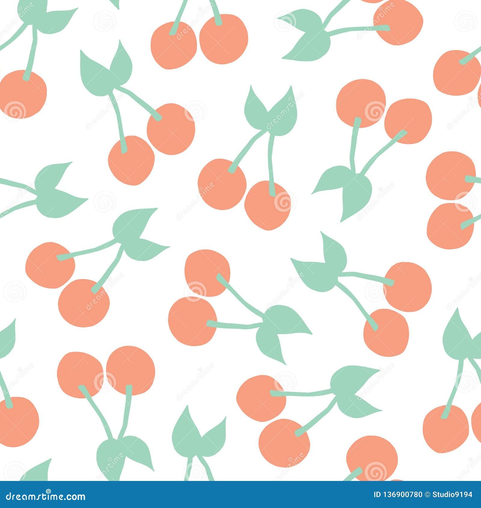 Cherries background. Vector seamless pattern