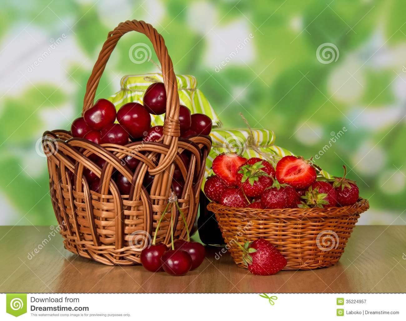 Cherries And Strawberries In Baskets Stock Image - Image ...