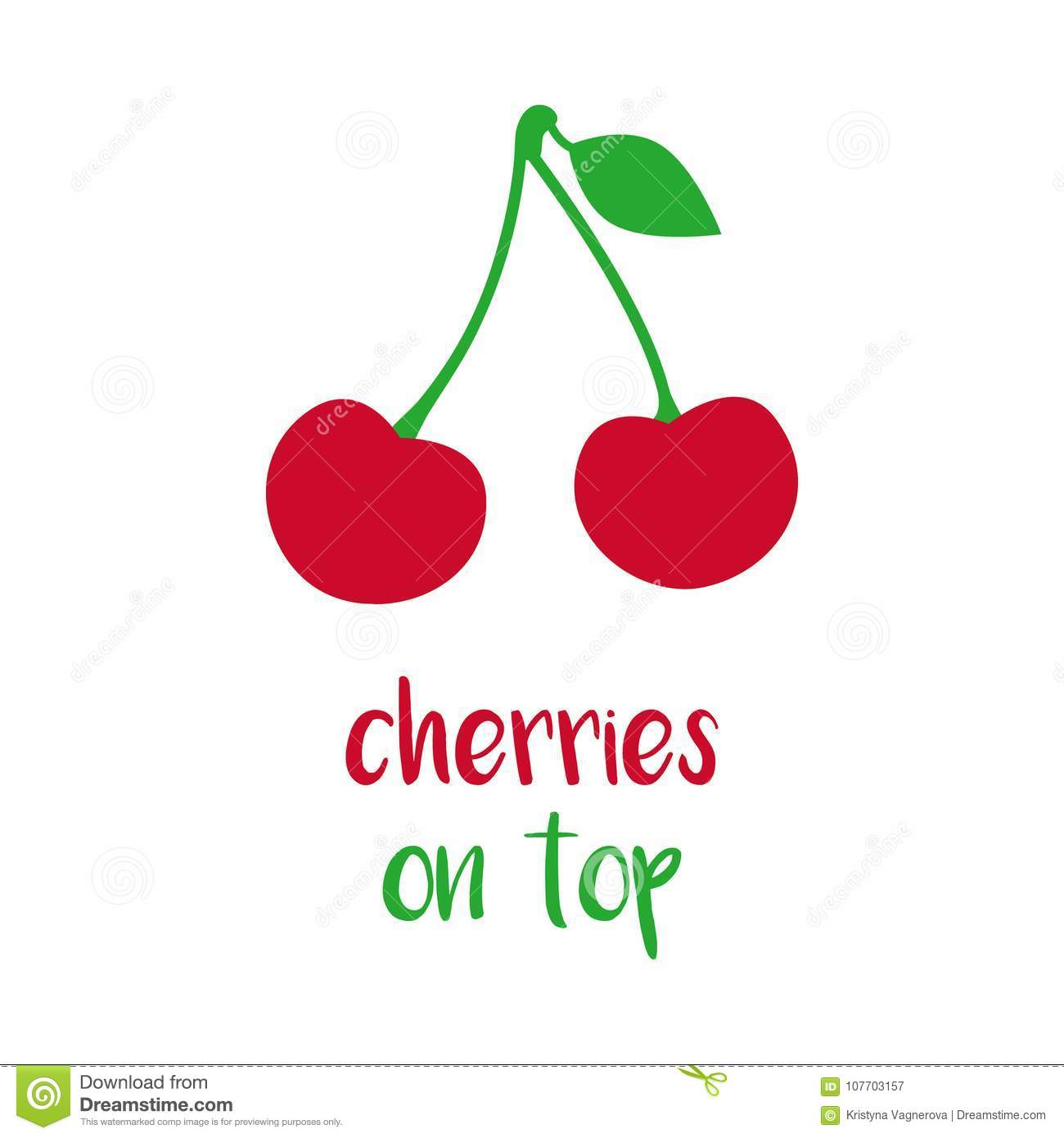 Cherries On Top Vector Print Stock Vector Illustration Of Stalk Icon 107703157