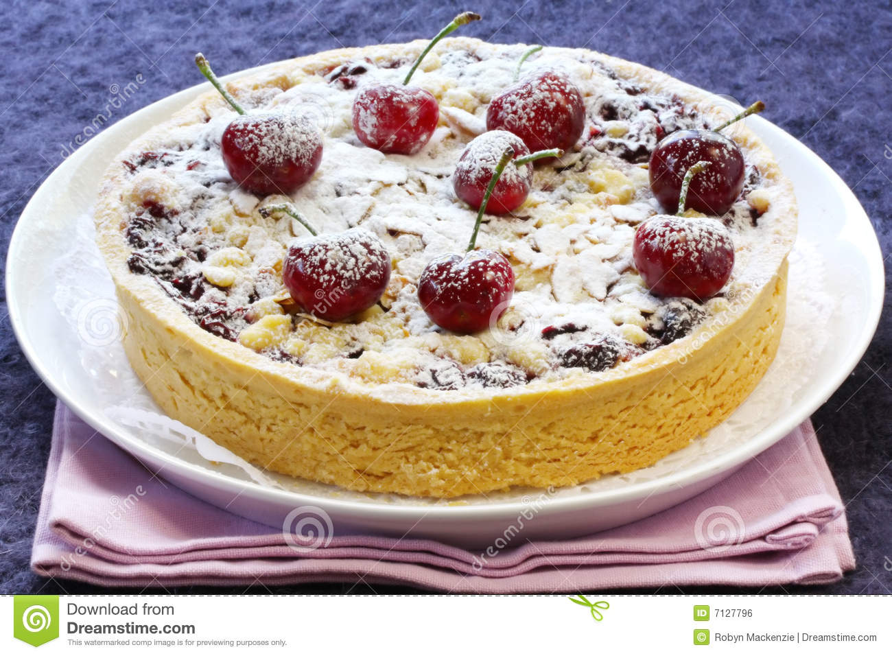 Download Cherry and Almond Tart stock photo. Image of pastry, purple - 7127796
