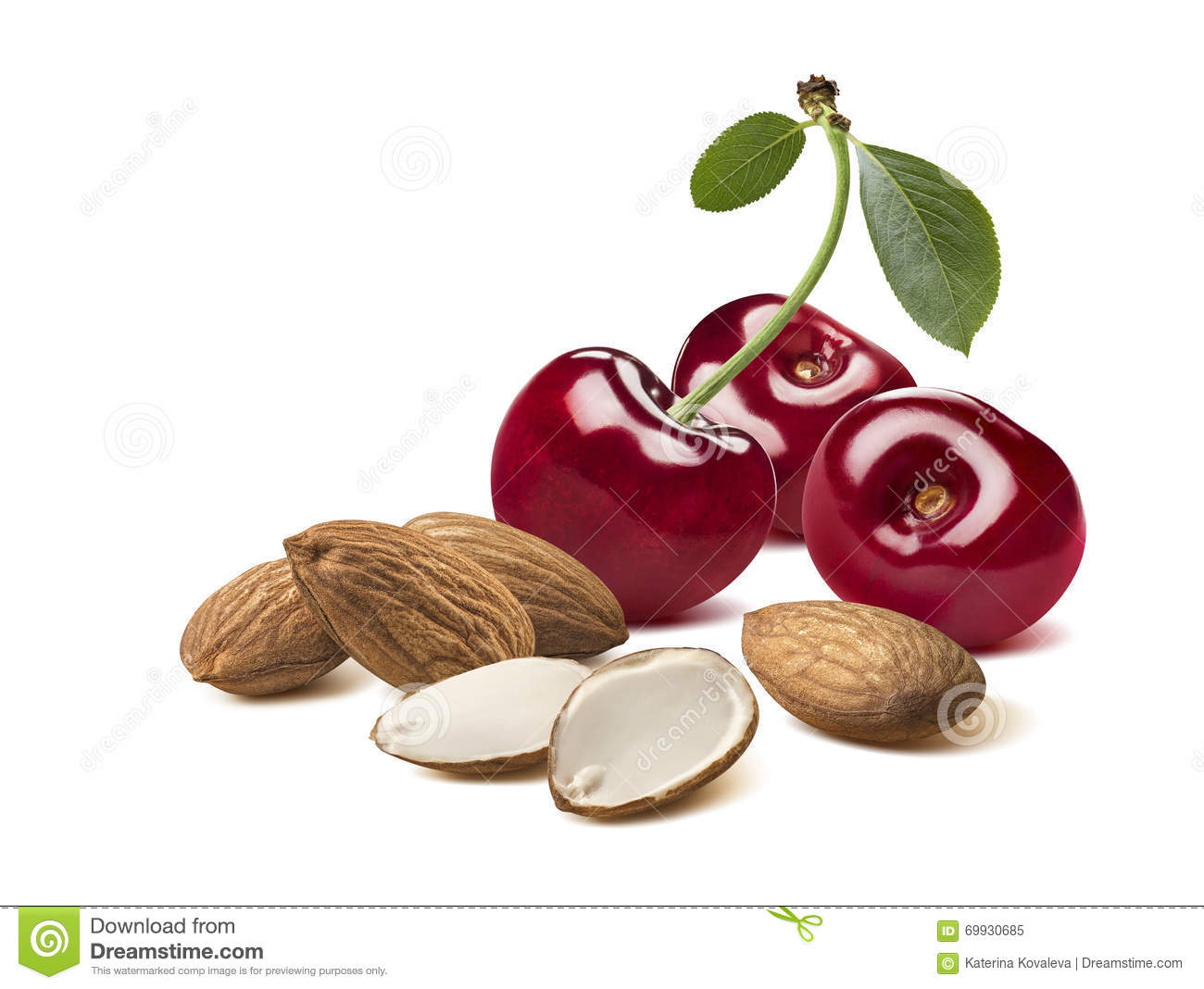 Cherry Almond Whole Sliced Set Isolated On White ...