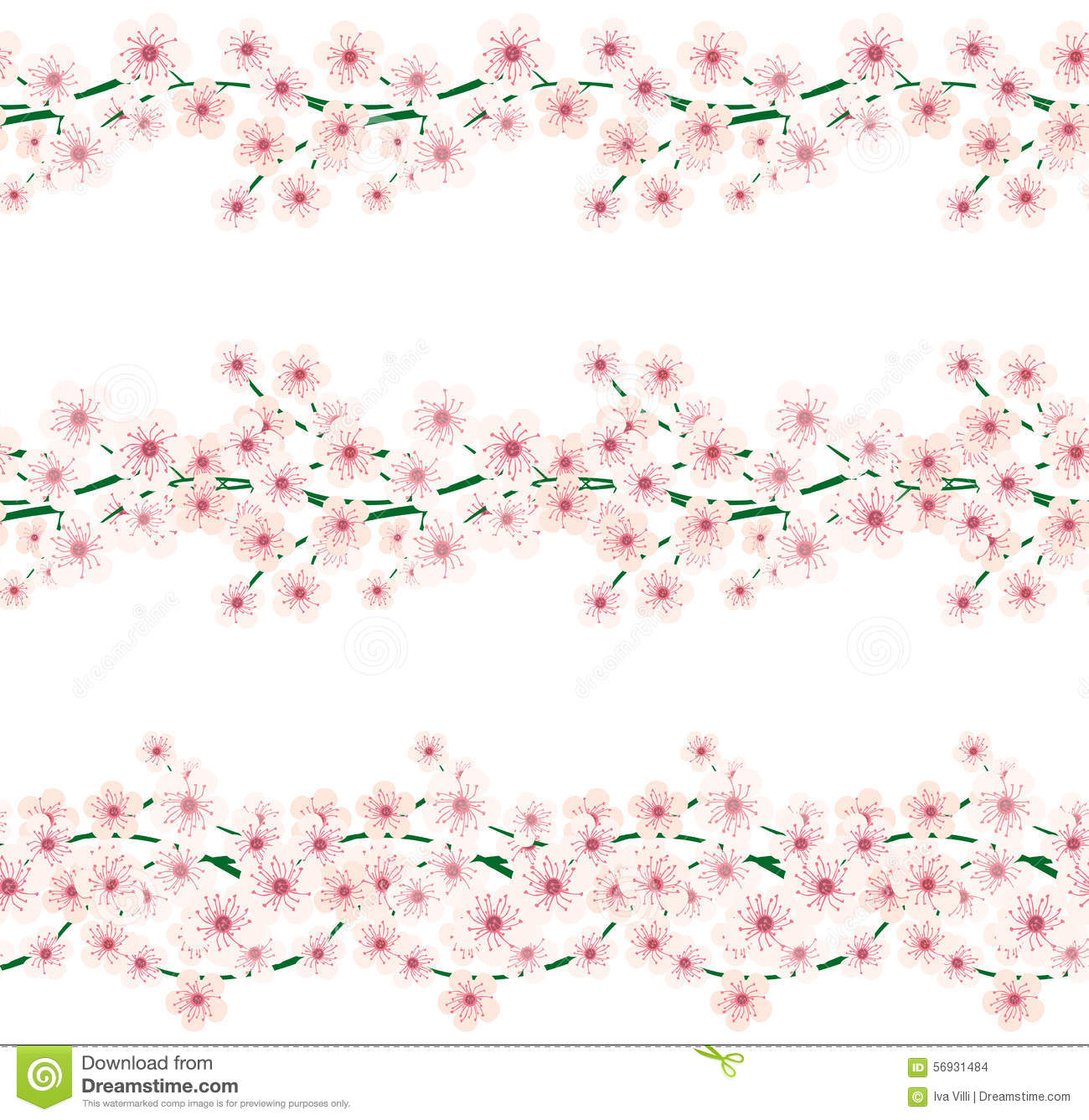 Cherry Blossom Borders Stock Vector - Image: 56931484
