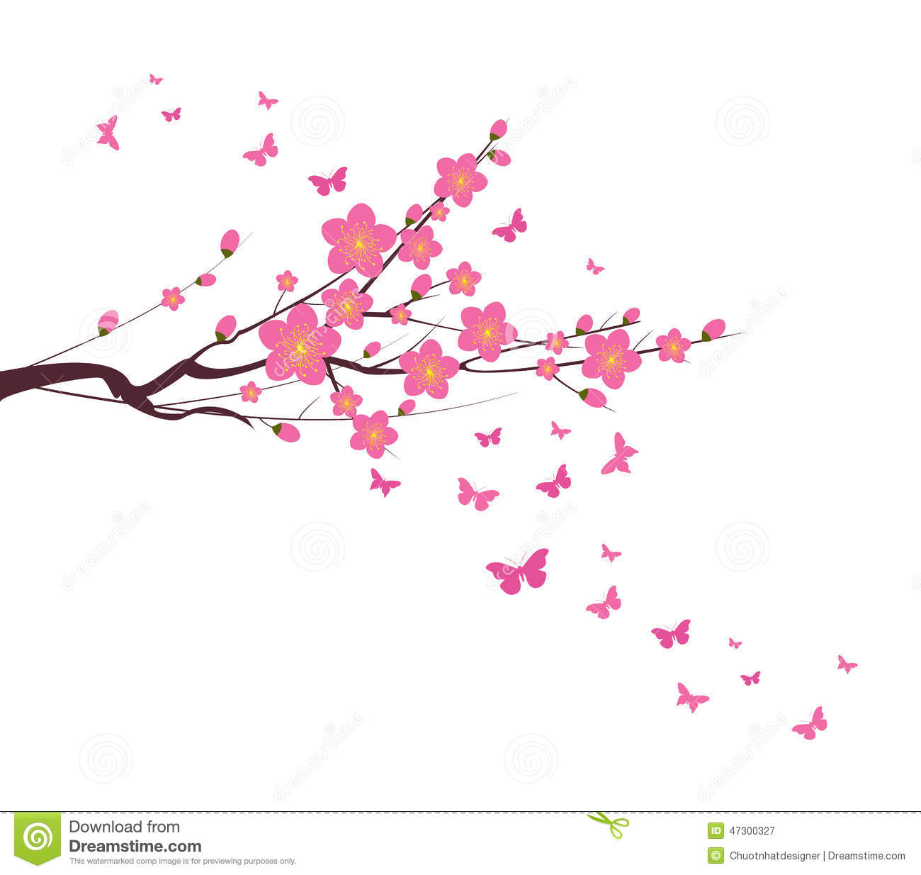 Cherry Blossom And Butterfly Chinese New Year Stock Vector ...