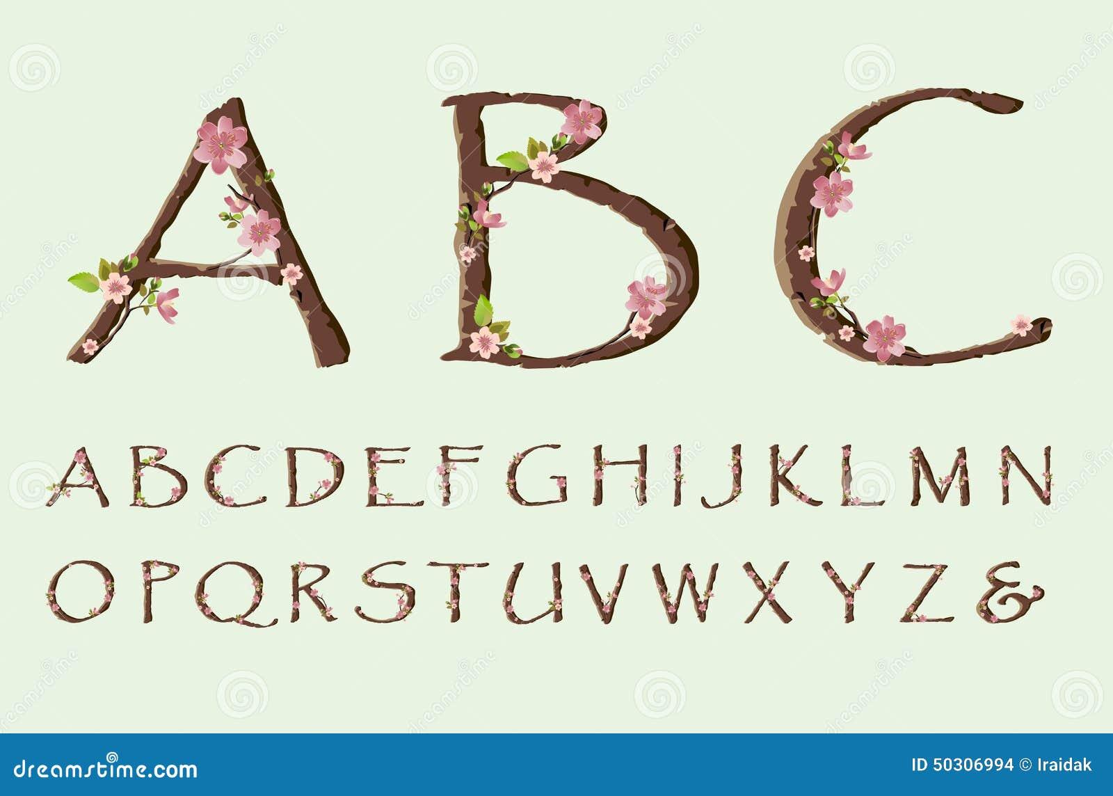 Cherry Blossom Font Stock Vector - Image: 50306994