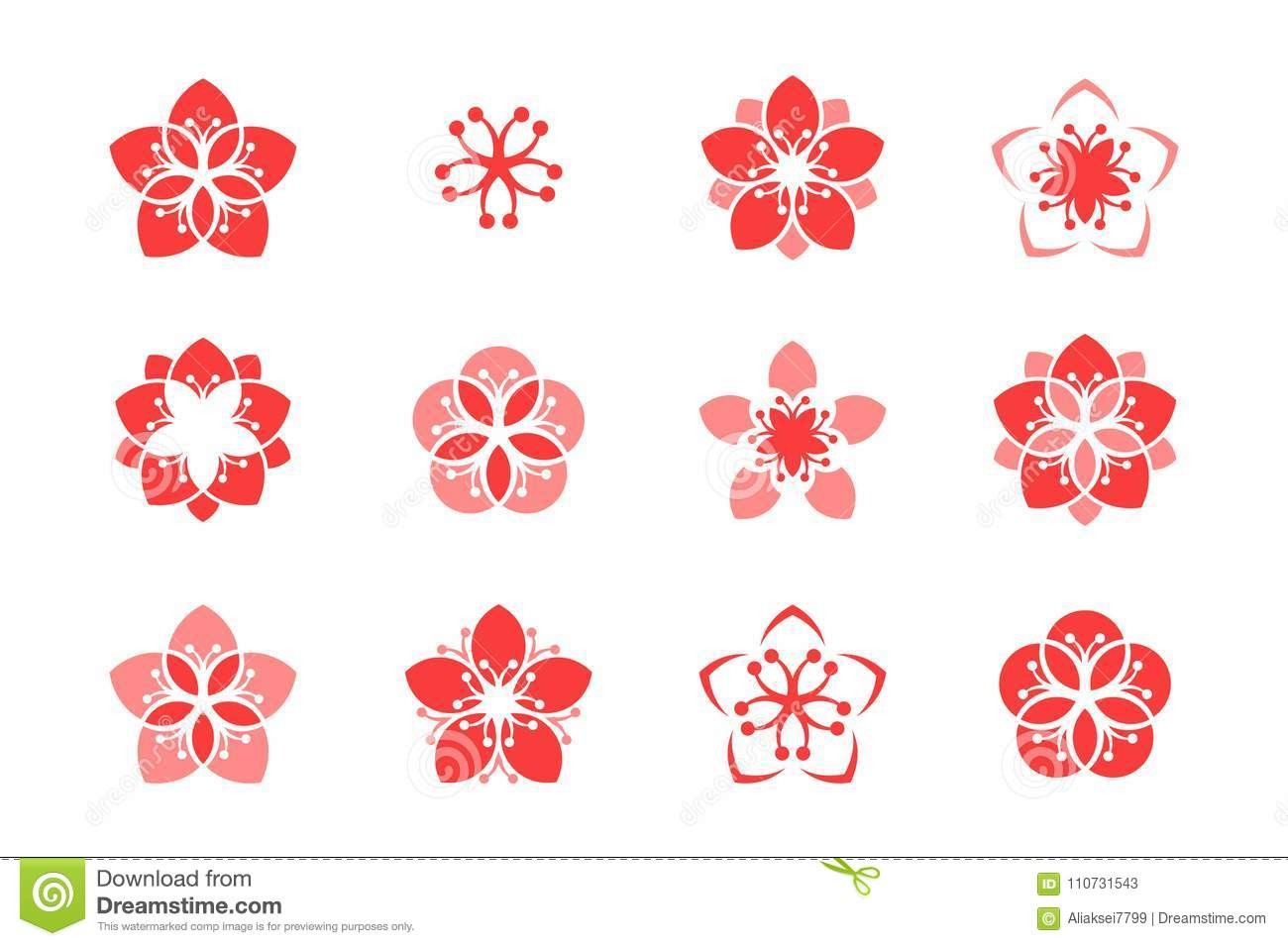 Abstract Flower Icons Stock Vector: Cherry Blossom. Icon Set. Sakura. Abstract Flowers On