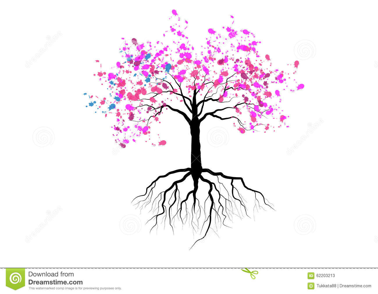 Cherry Blossom With Roots Underground Watercolor Designvector Stock